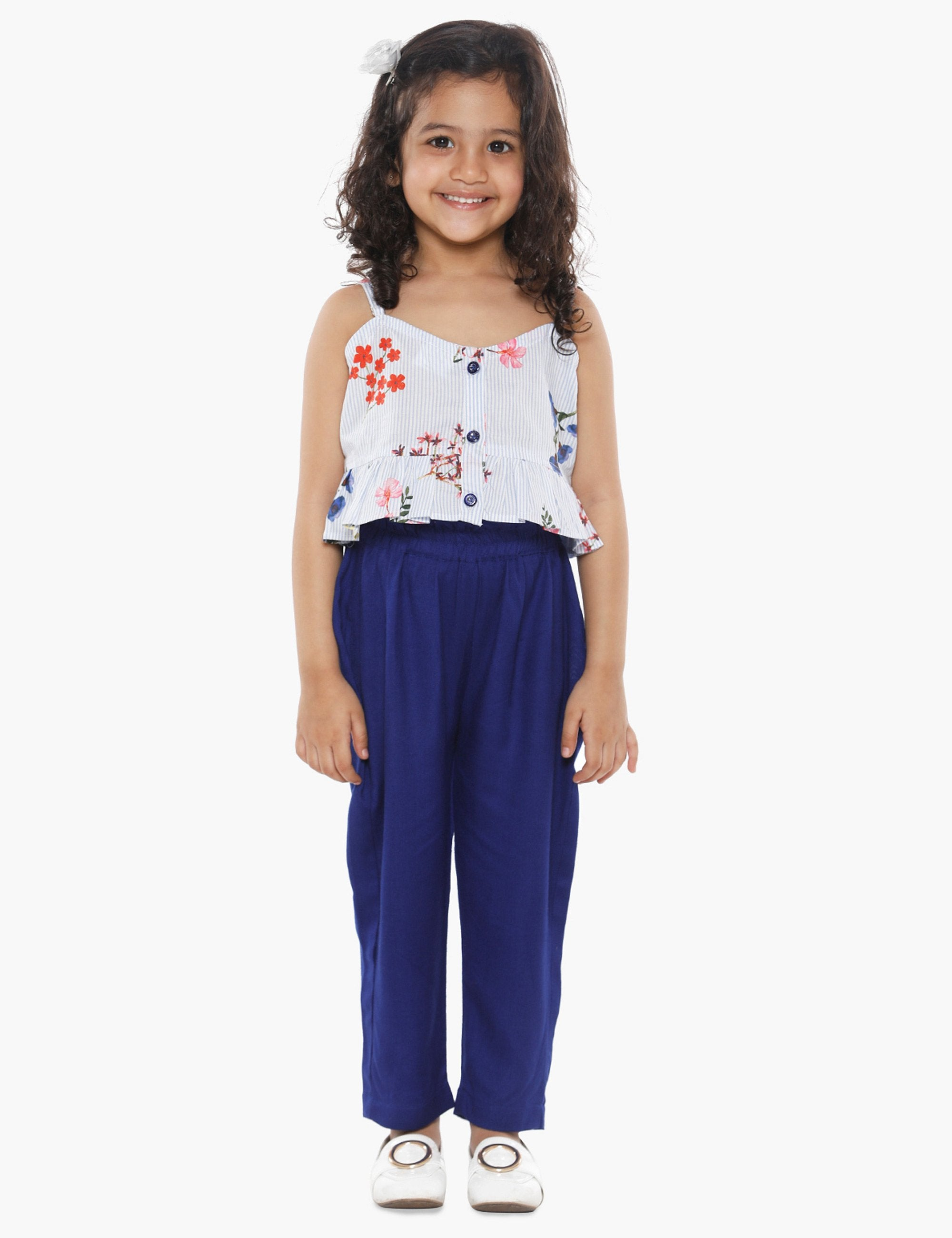 Designer Blue Crop Top and Pant Set