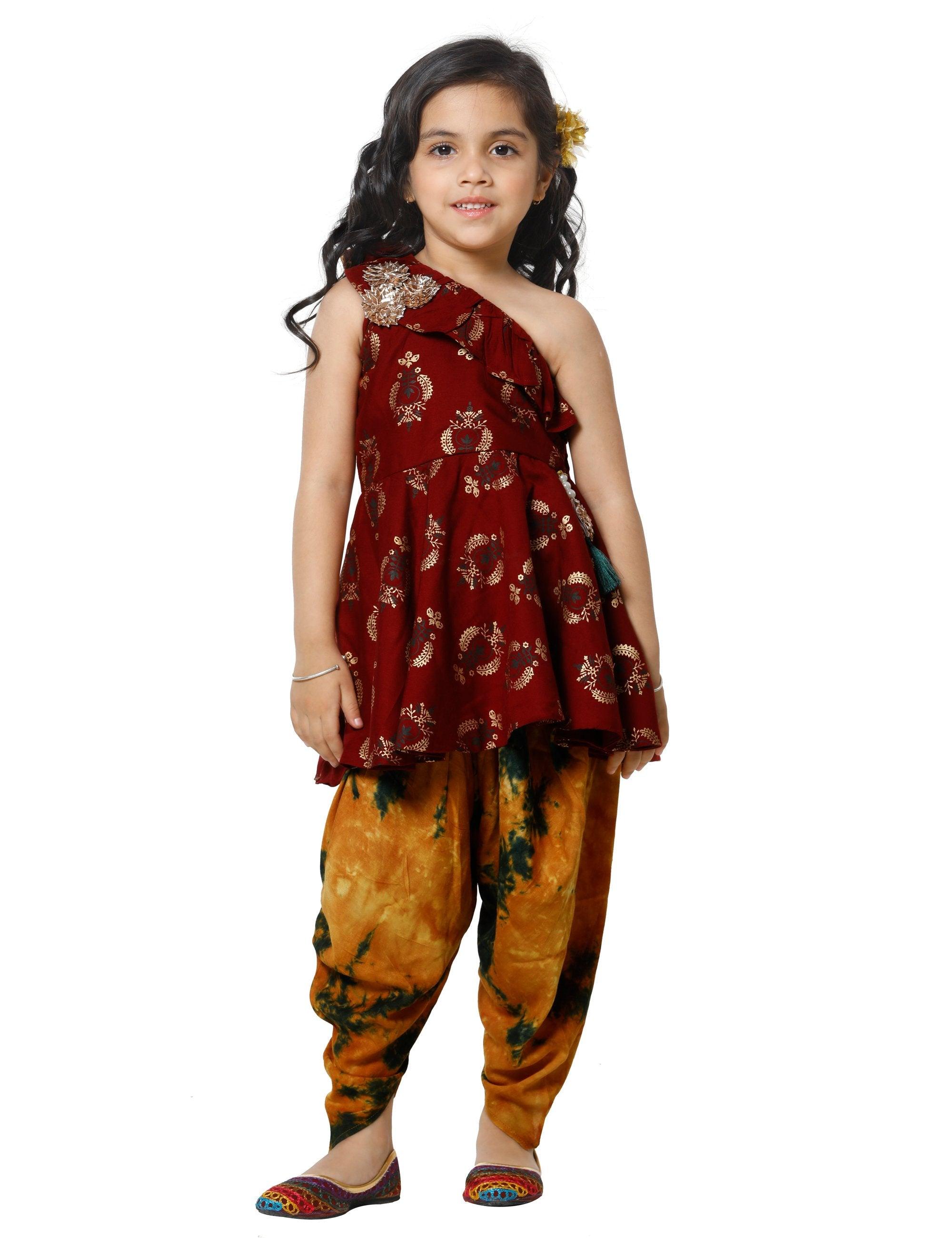 Maroon Peplum kurta with Dhoti Set