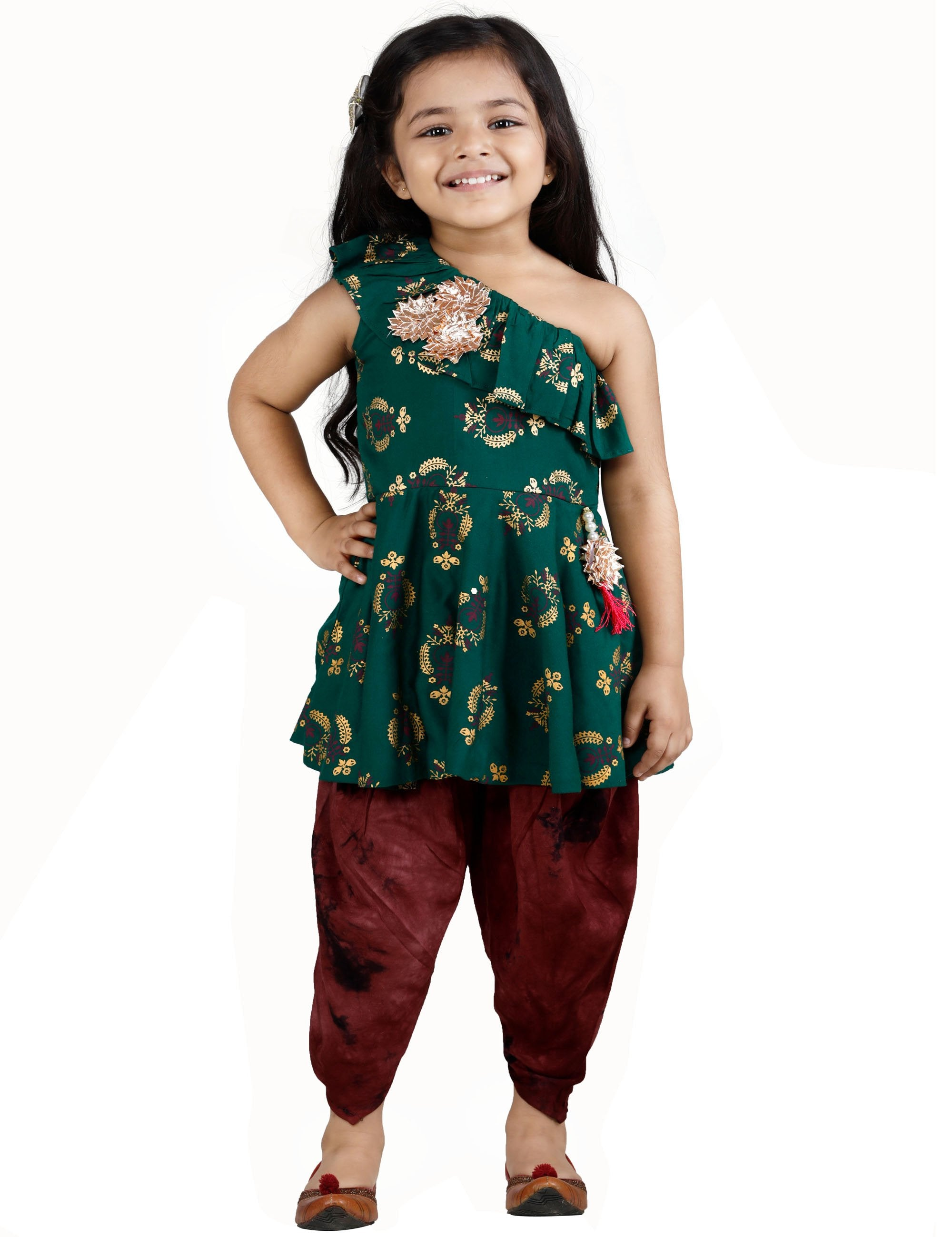 Green Peplum Suit with Dhoti Set