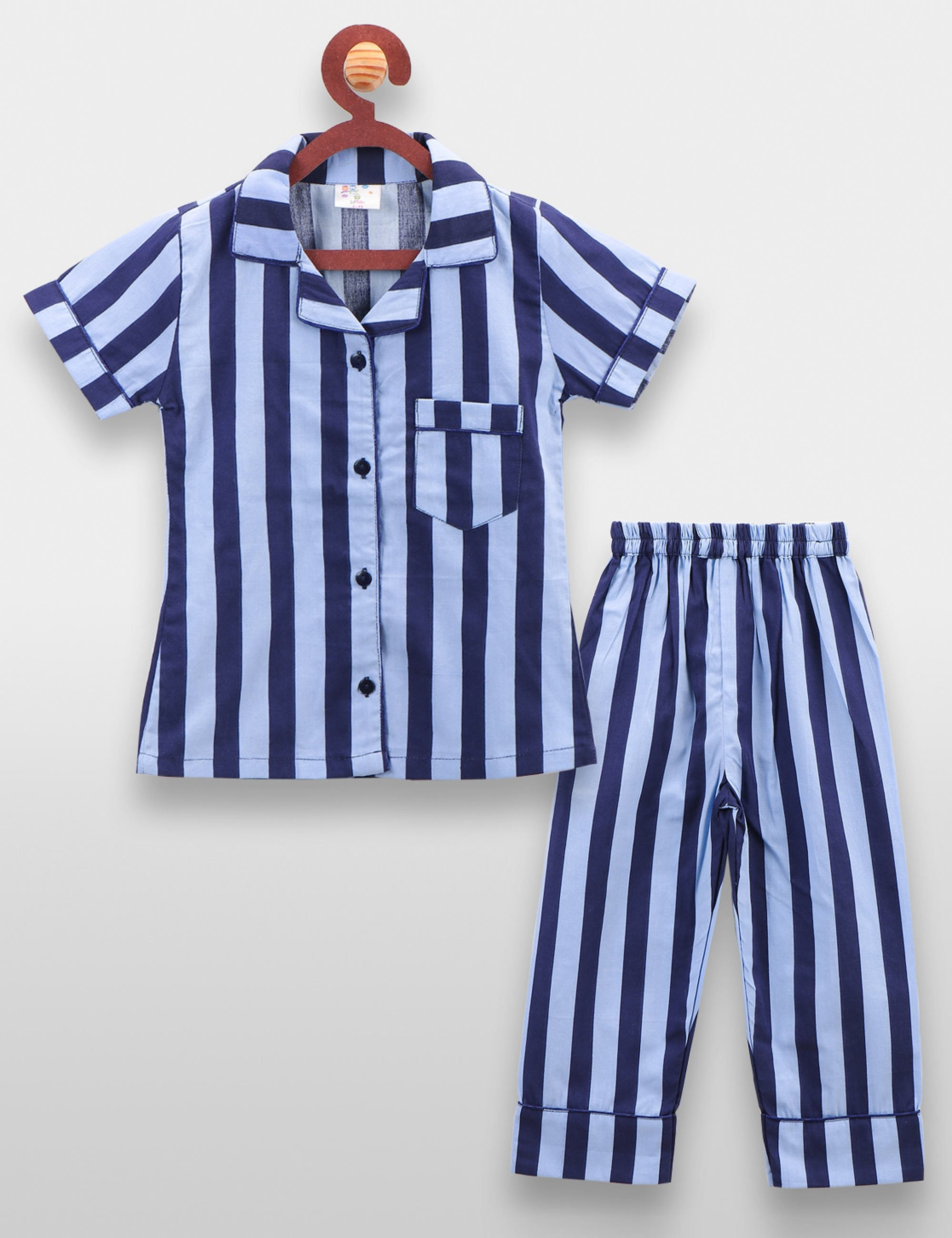 Blue Striped Night Suit