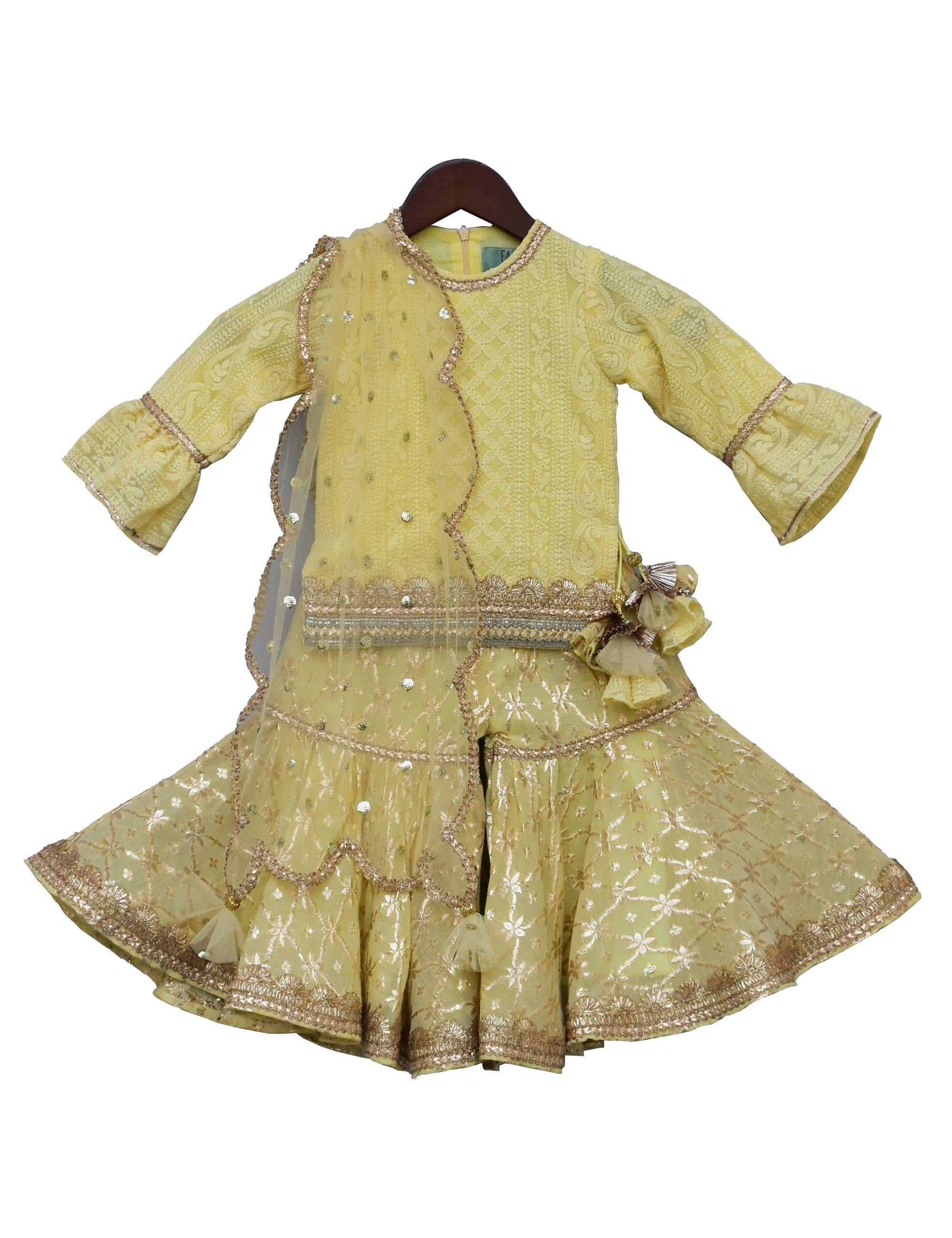 Lemon Yellow Embroidery Kurti with Sharara for Girls