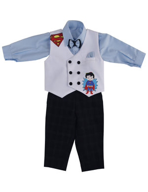 Light Blue Shirt White Waist Coat with Black Pant Set for Boys