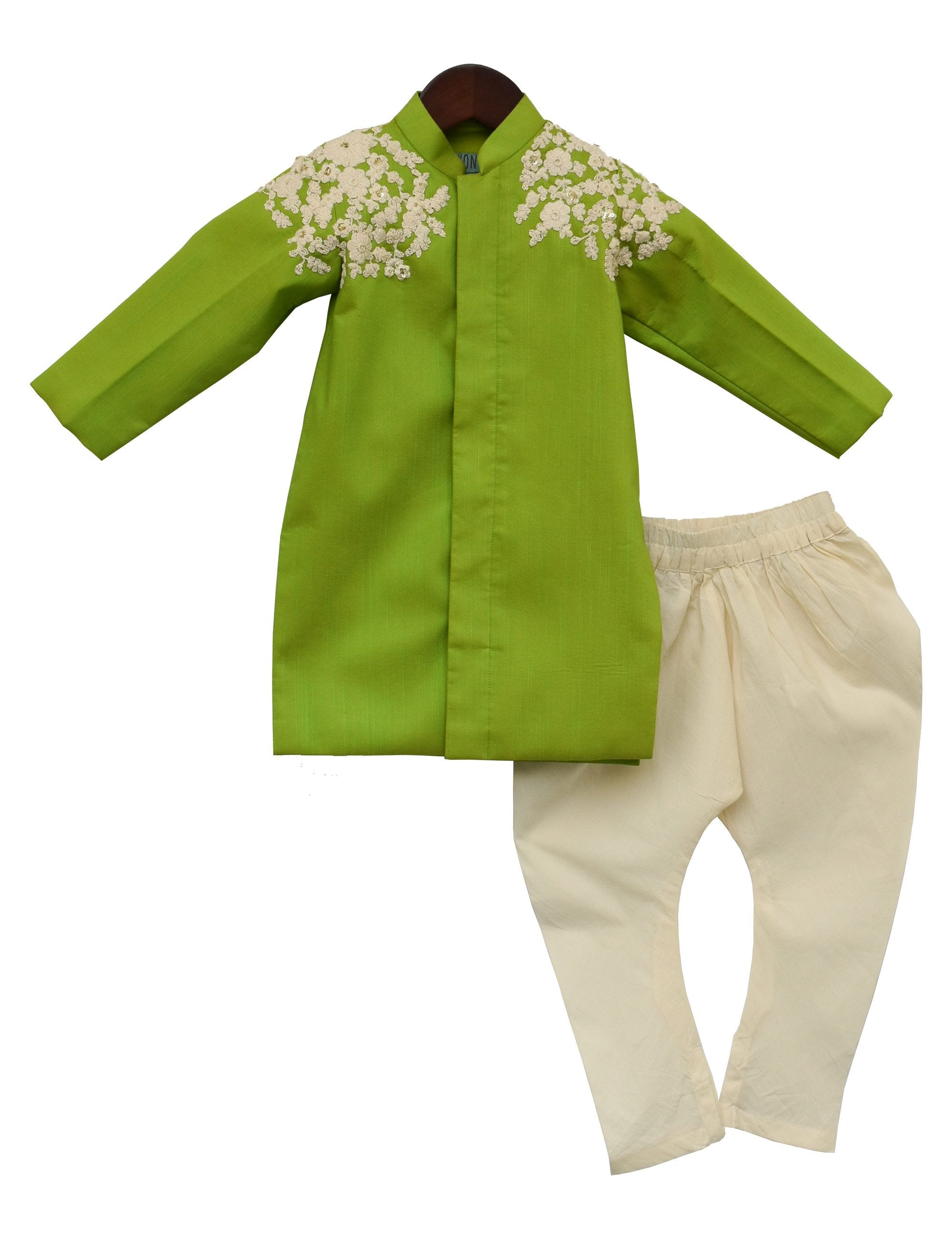 Lime Green Embroidery Ajkan with Churidar for Boys