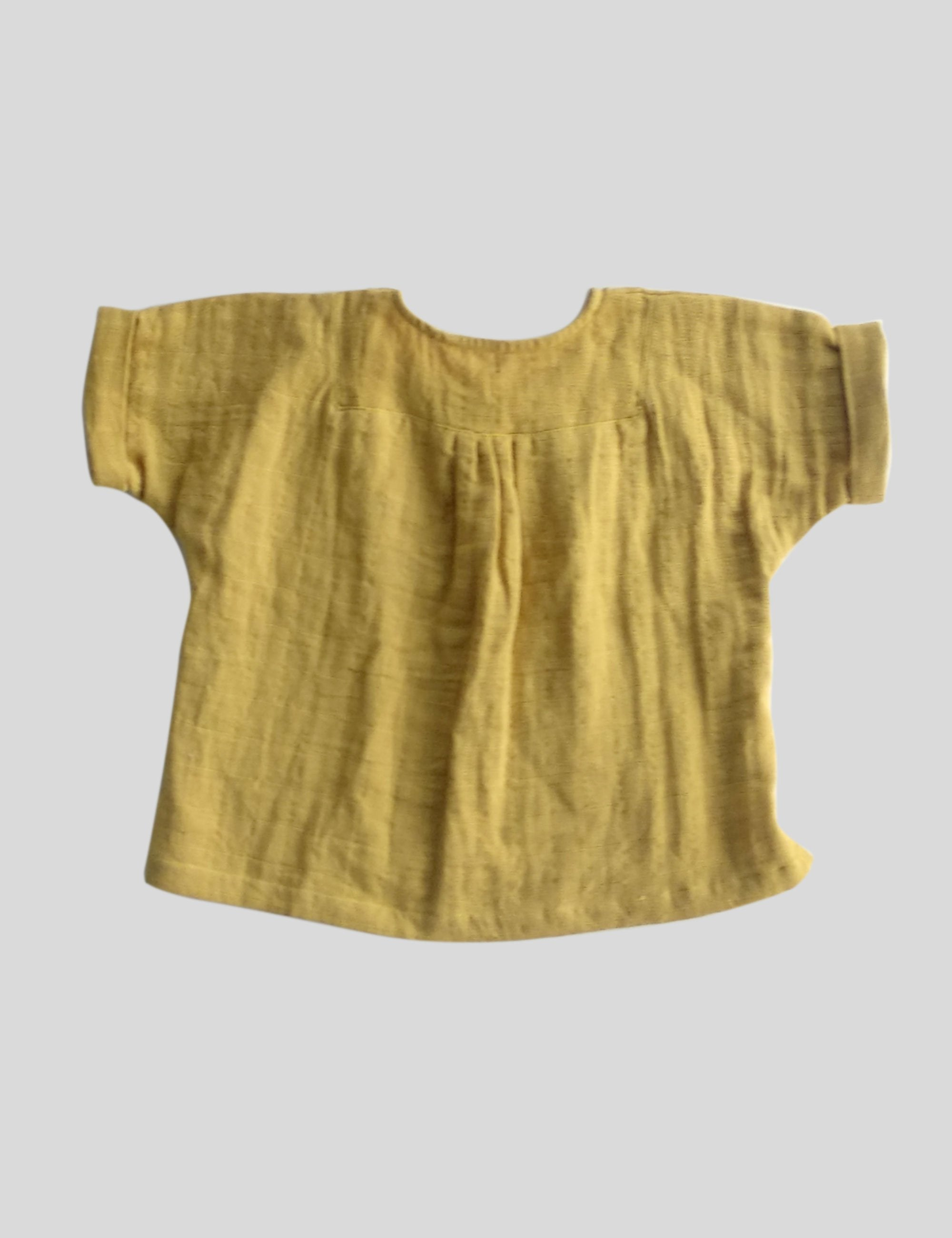 Loose Fit Afghan Tunic with Yoke in Yellow for Boys