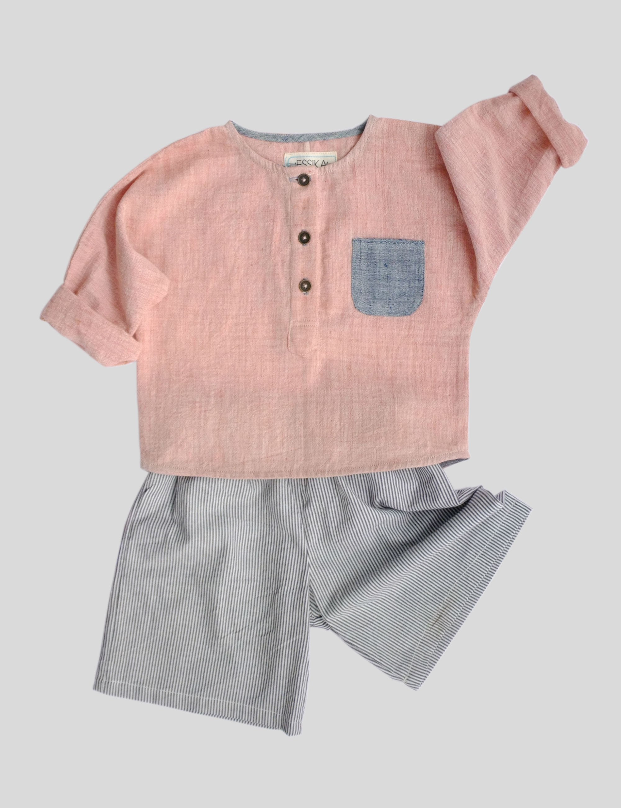 Loose Fit Lollipop Shirt with Placket in Pink for Boys