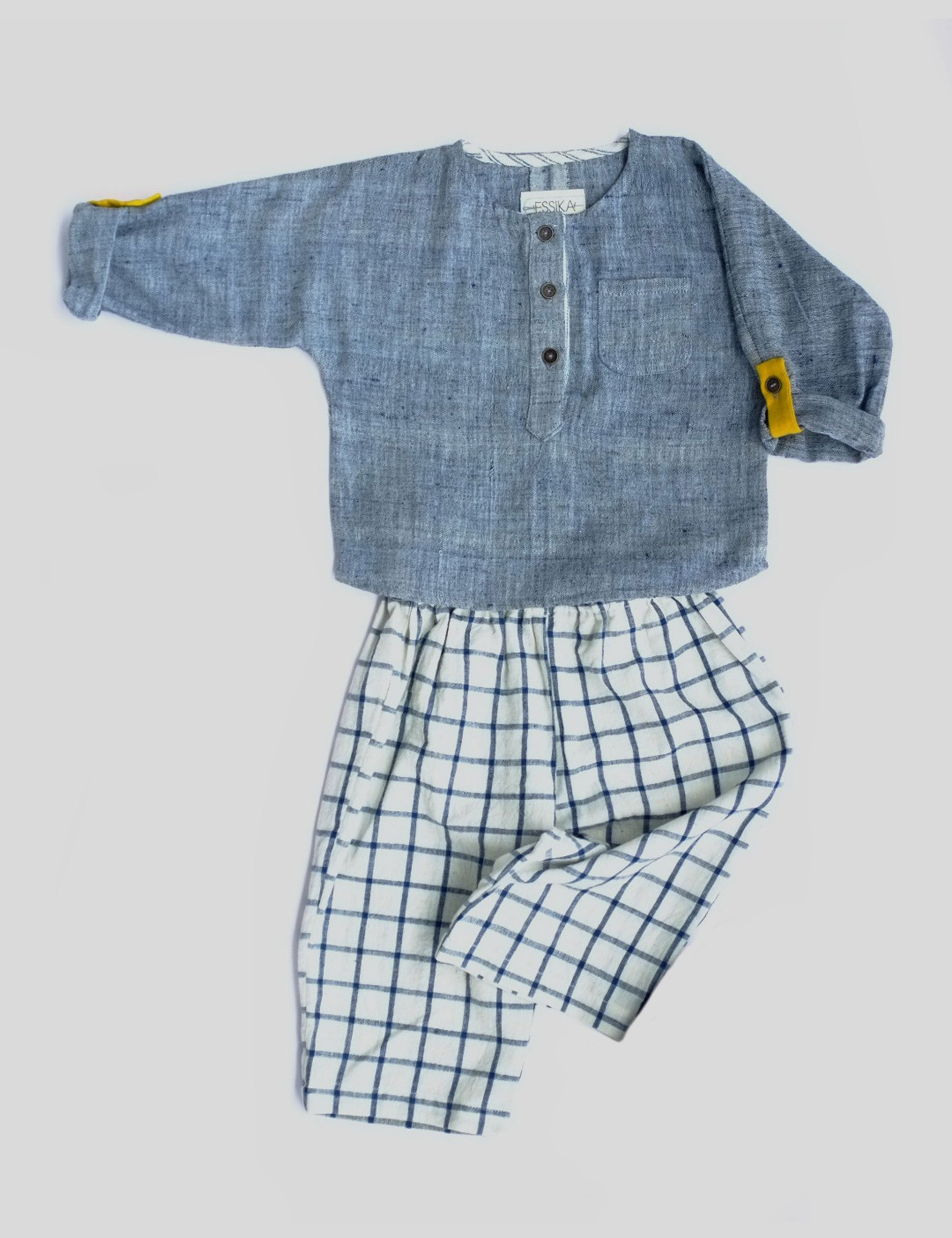 Loose Fit Lollipop Shirt with Placket in Blue Grey for Boys