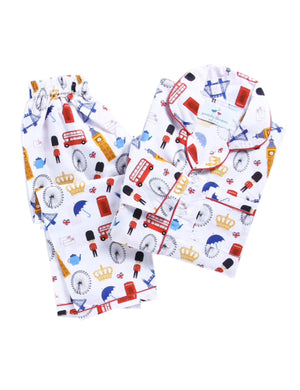 White London Themed Digital Print Night Suit for Boys & Girls