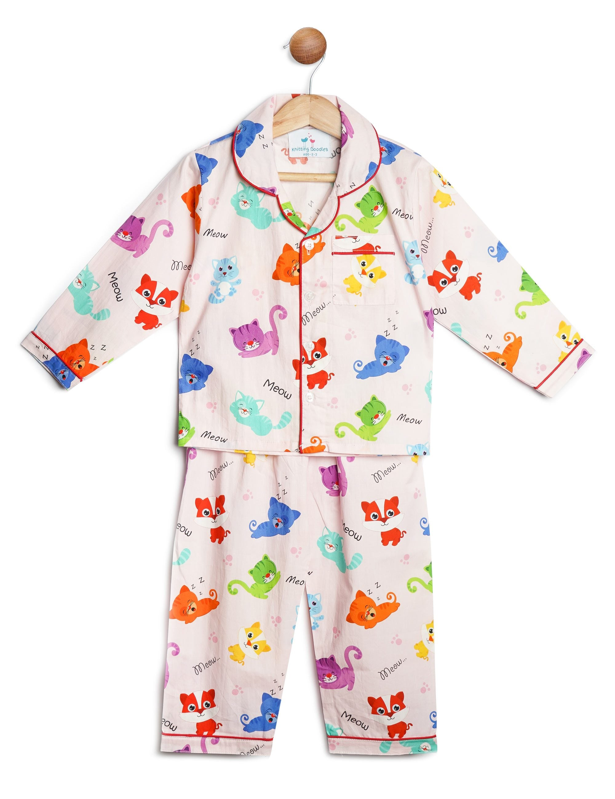 9c5139d3aa Buy Cats Print Night Suit for Girls at best Price - Mini Firgun