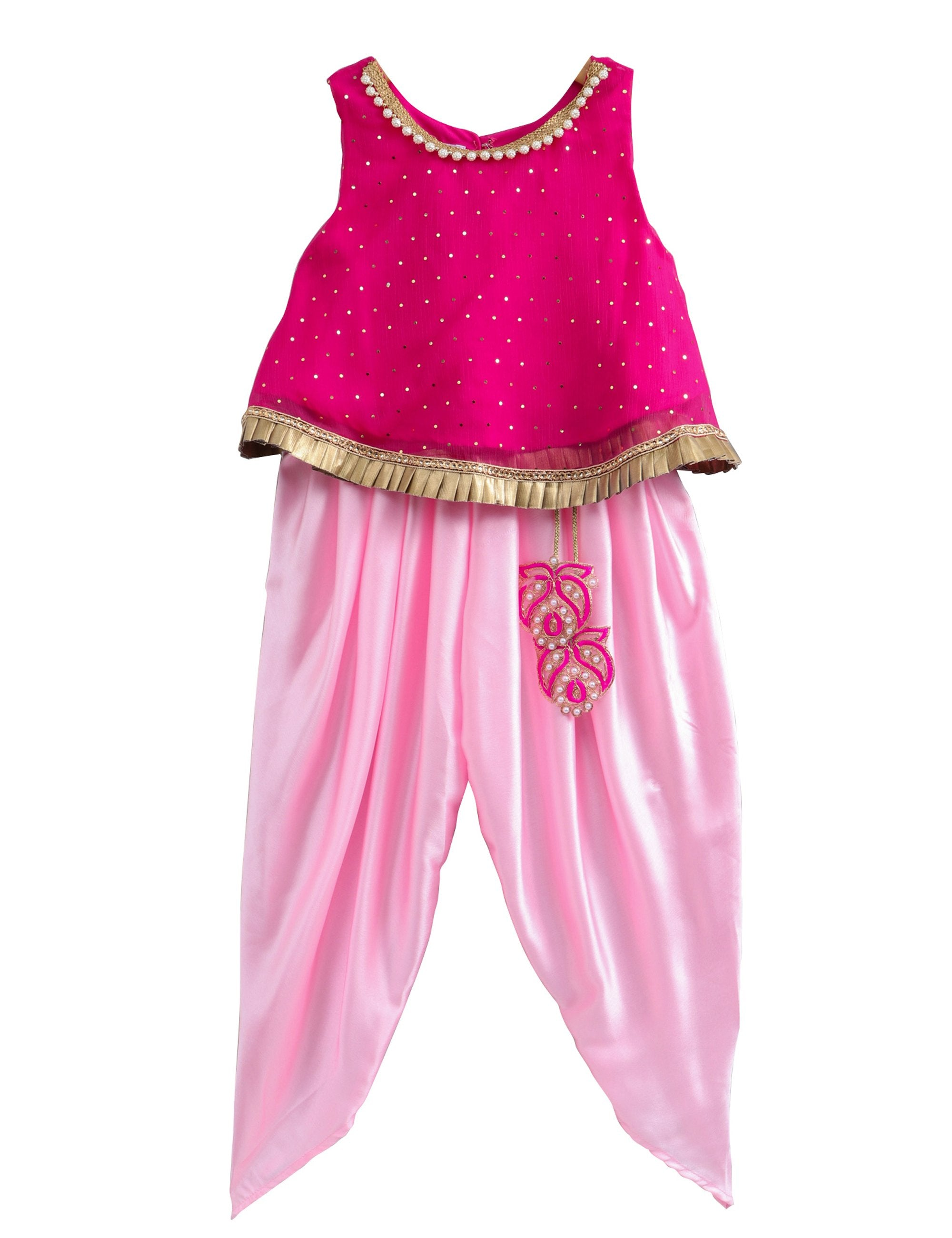 Shimmer Top with Bead Embellishment with Satin Dhoti and Latkans