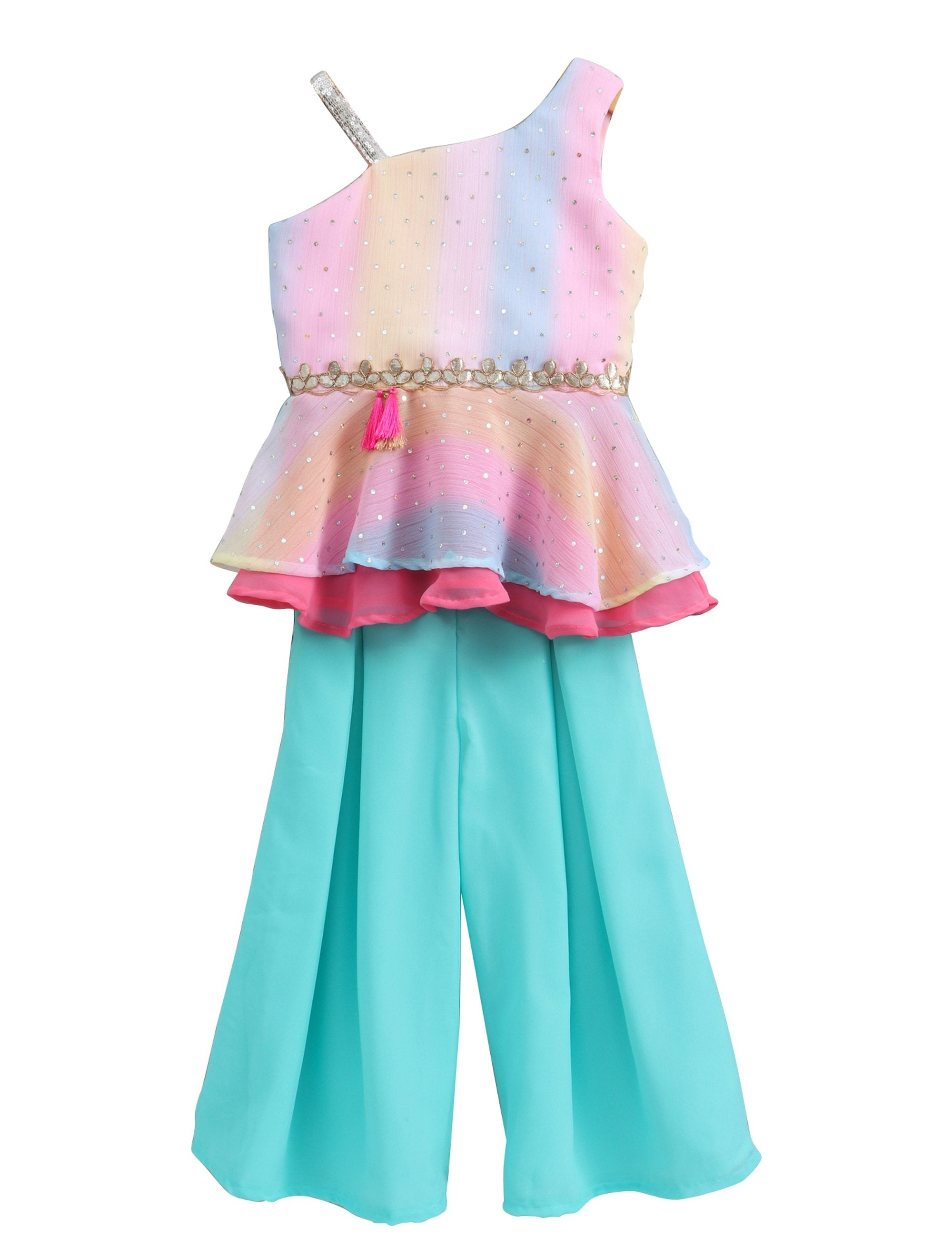 Shimmery Multicoloured One Shoulder Top with Sequin Strap and Pleated Plazo