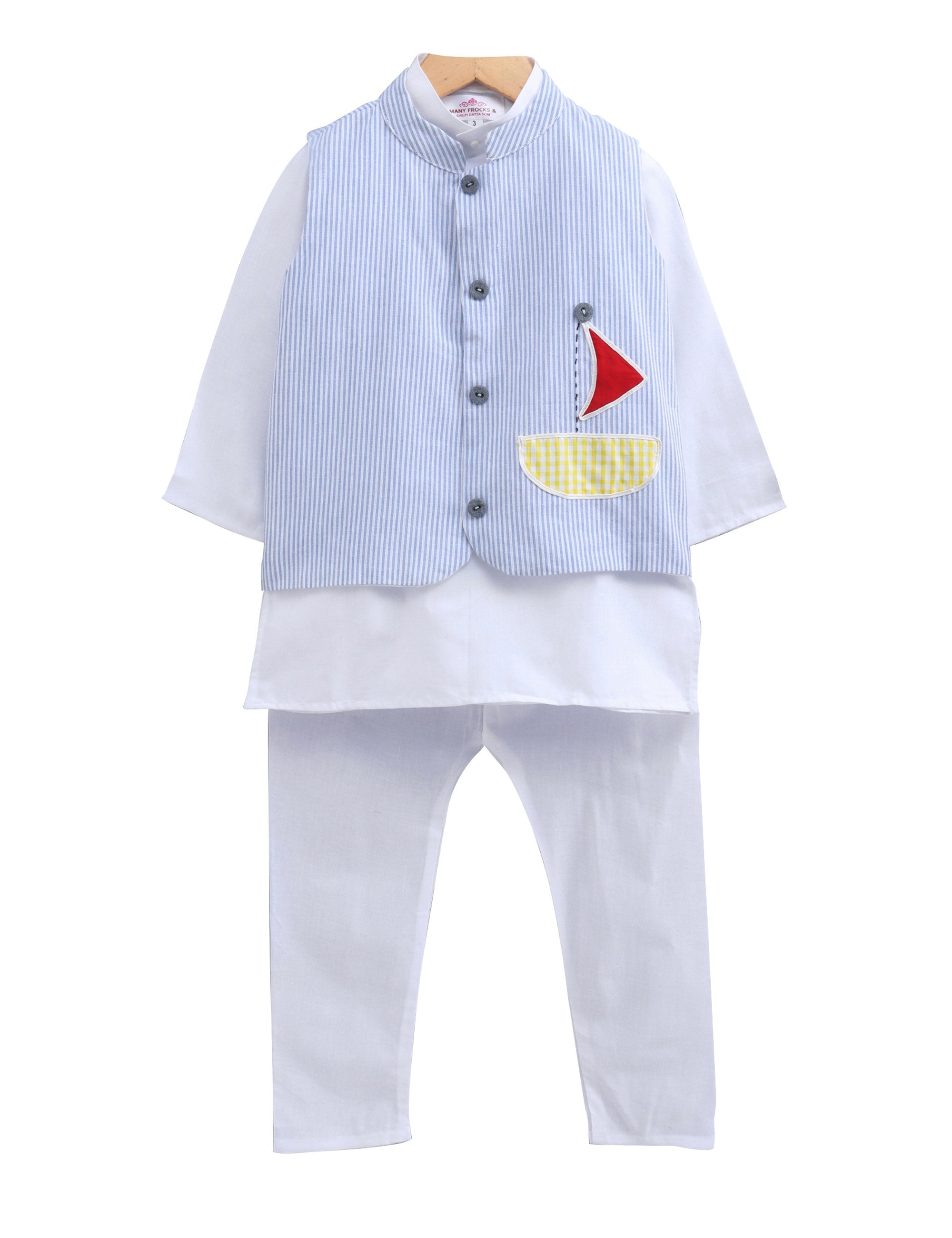 Boys Kurta Pyjama with Sailor Boat Jacket