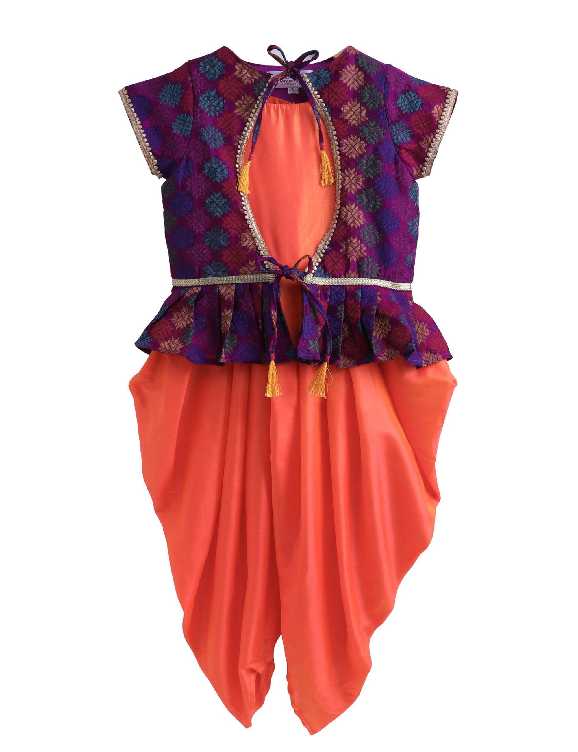 Ethnic Silk Jumpsuit with Trendy Jacket