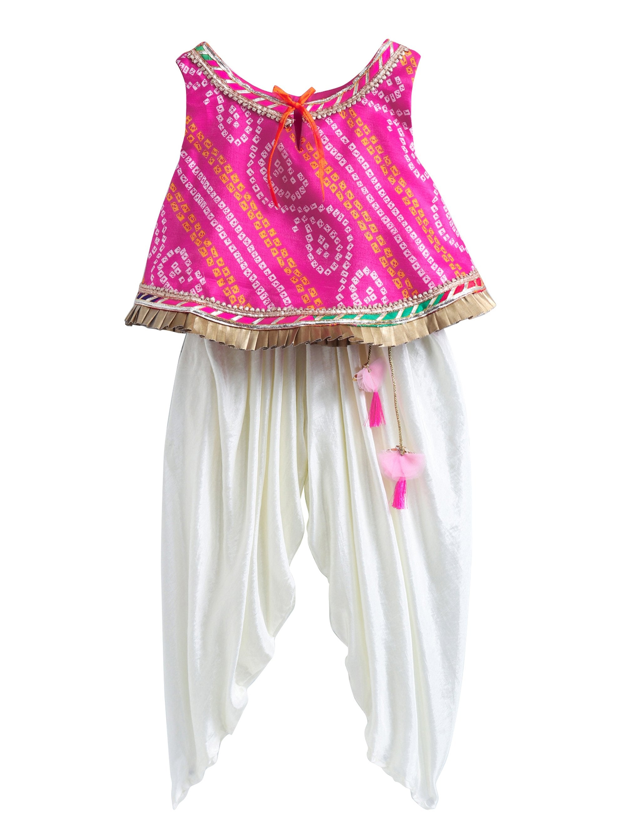Bandhej Lace Work Top with Matching Dhoti with Latkans.