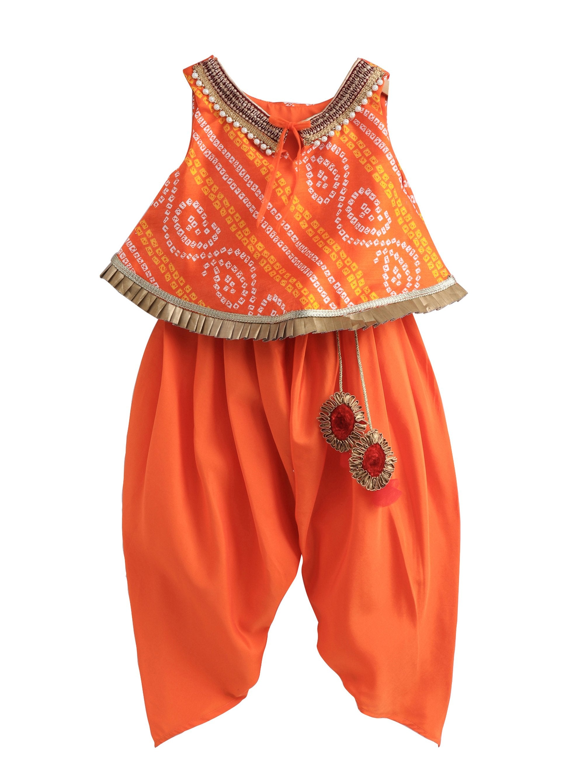 Bandhej Lace Work Top with Matching Dhoti with Latkans