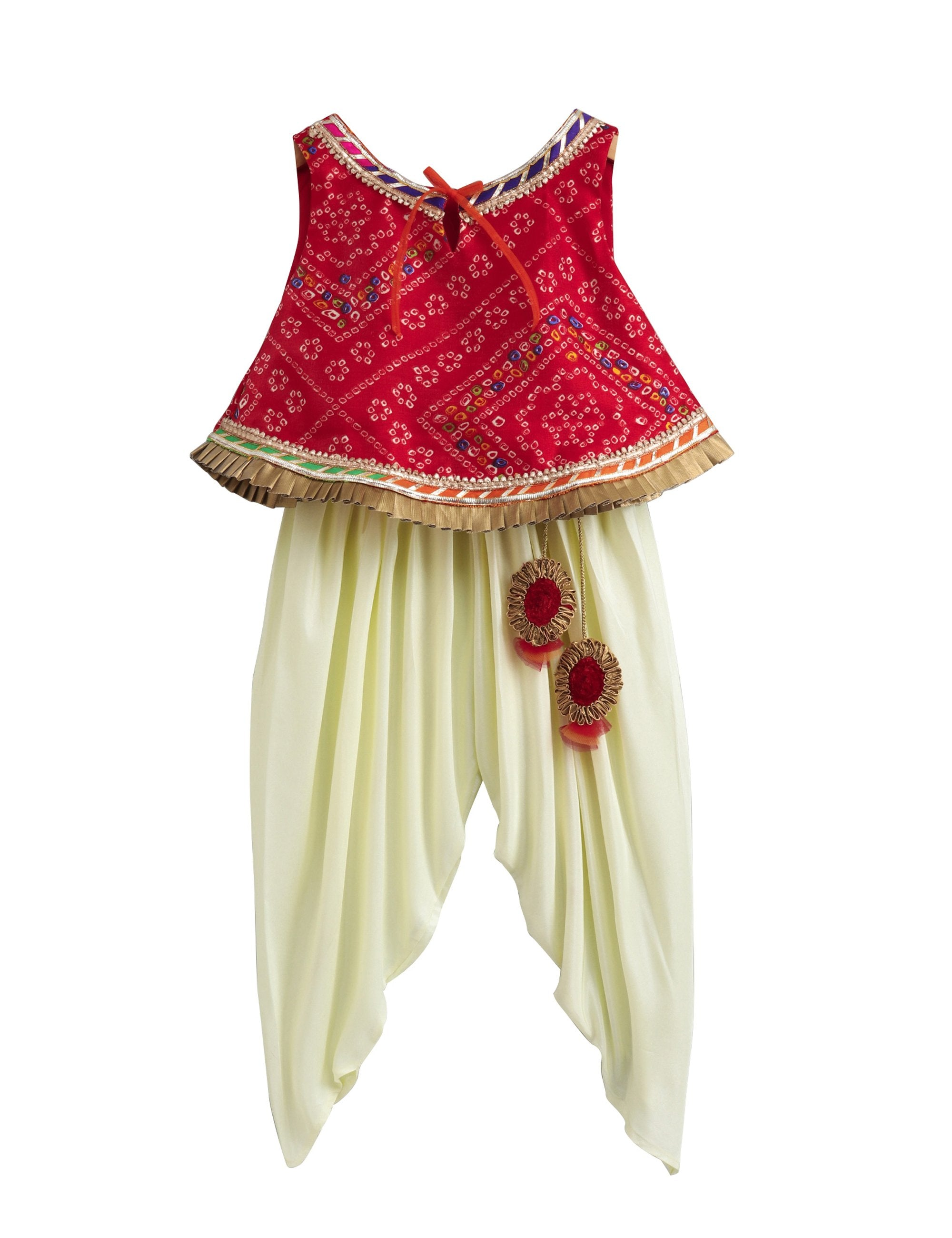 Bandhej Lace Work Top with Matching Dhoti with Latkan