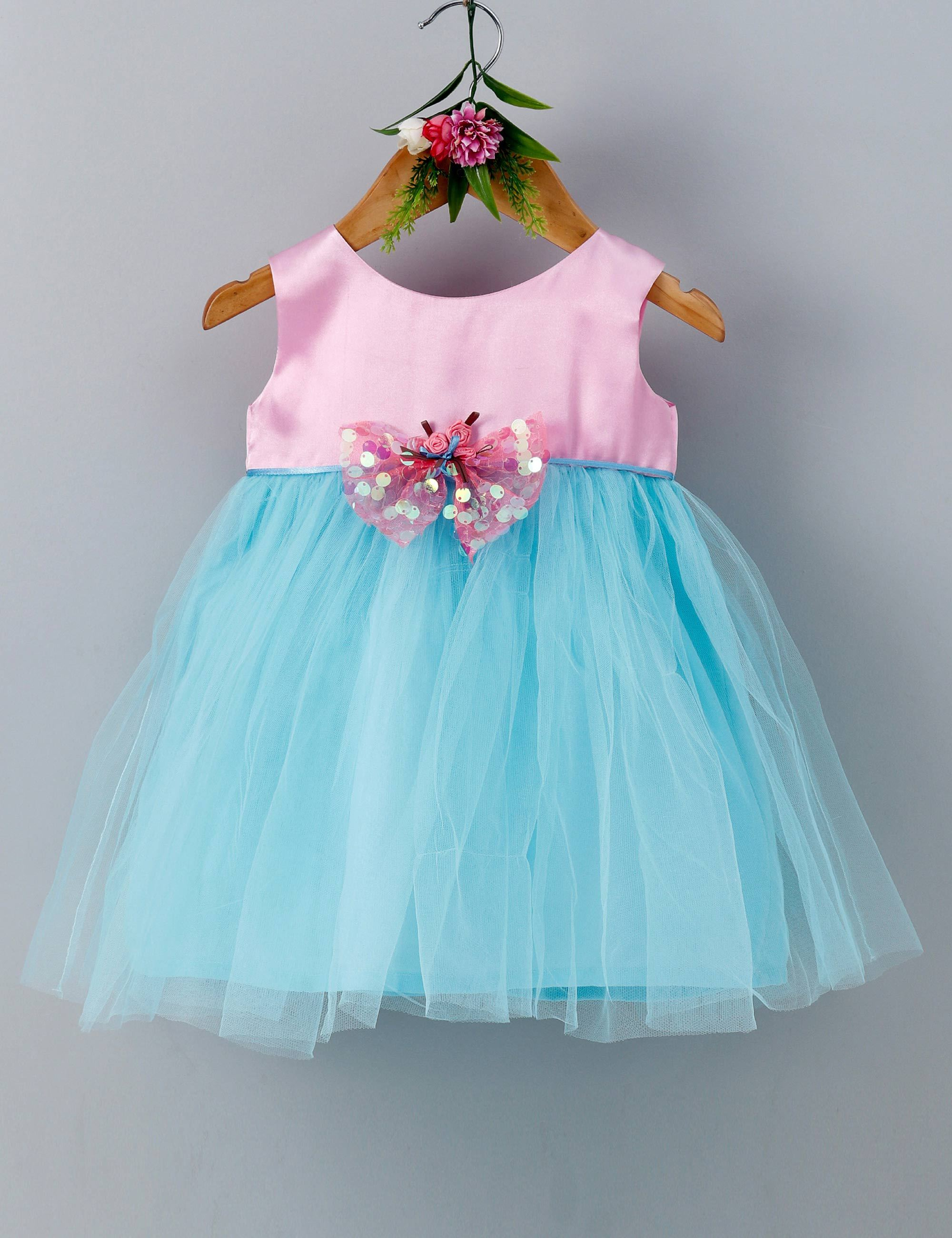 Sequins bow sleeveless baby party frock- Pink and Blue