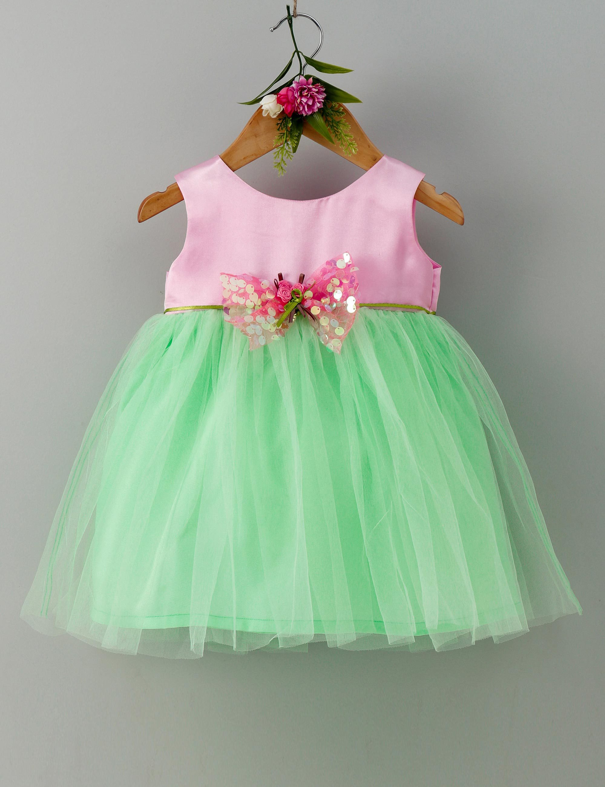 Sequins bow sleeveless baby party frock- Pink and Green