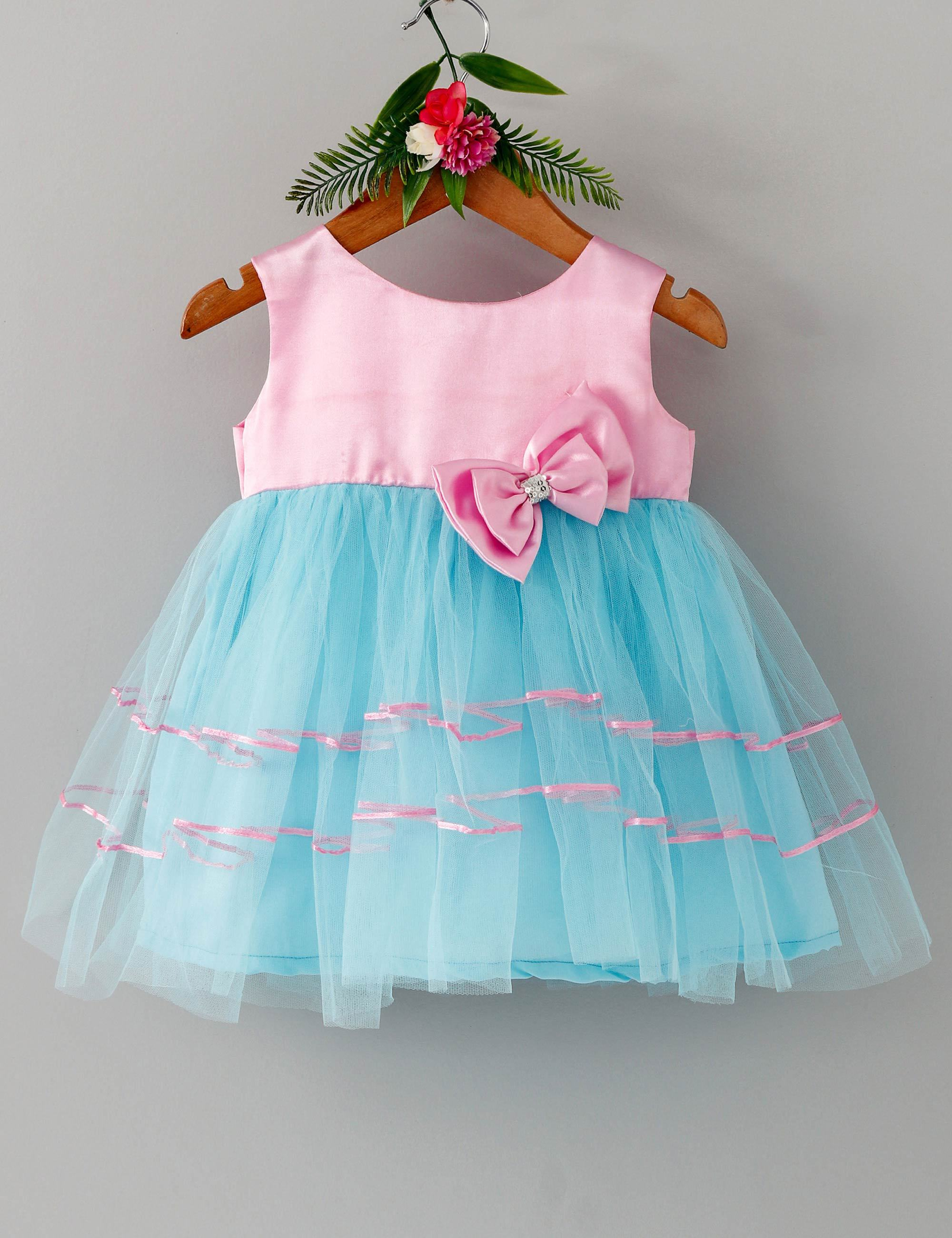 Double bow sleeveless baby party frock-Pink and Blue