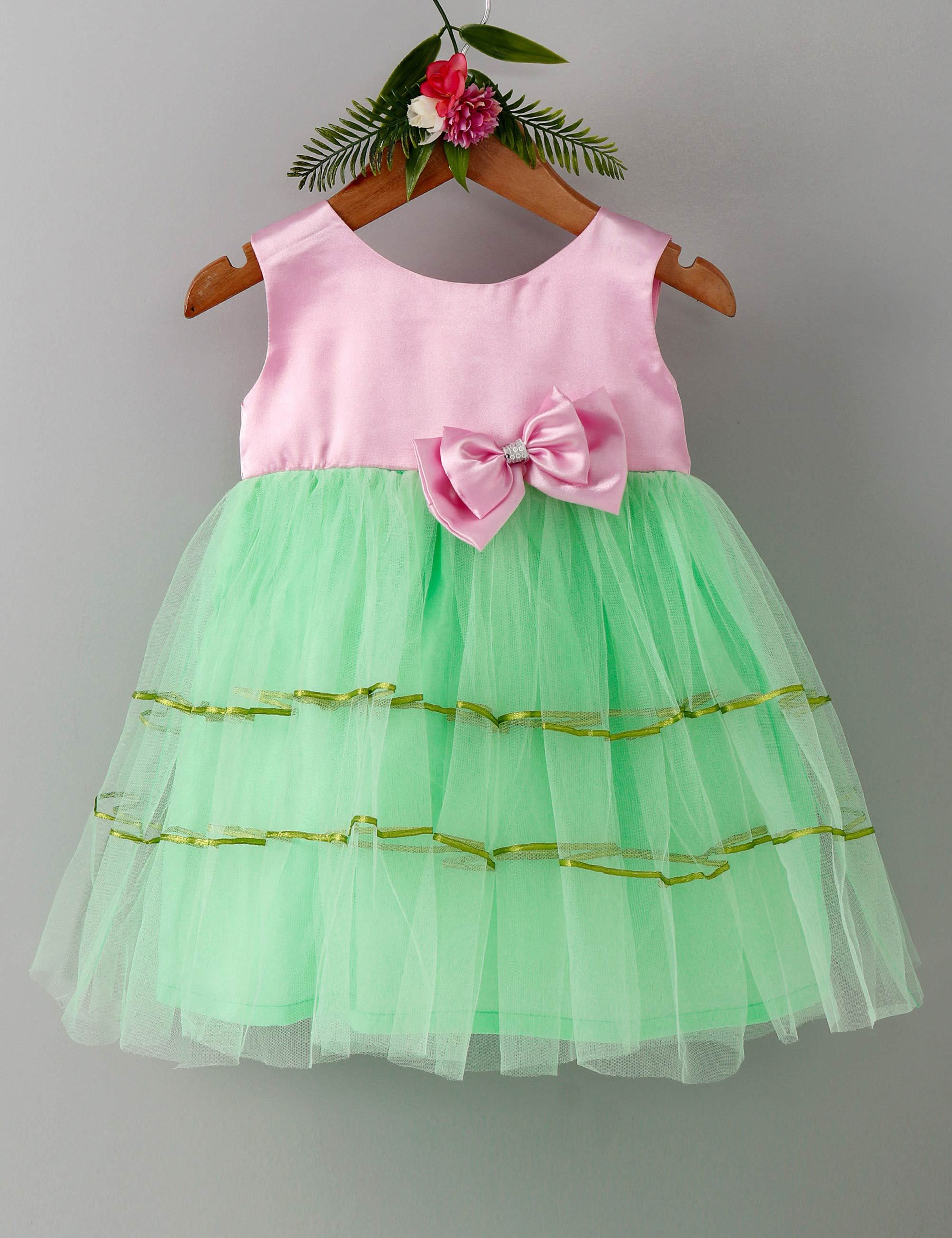 Double bow sleeveless baby party frock-Pink and Green