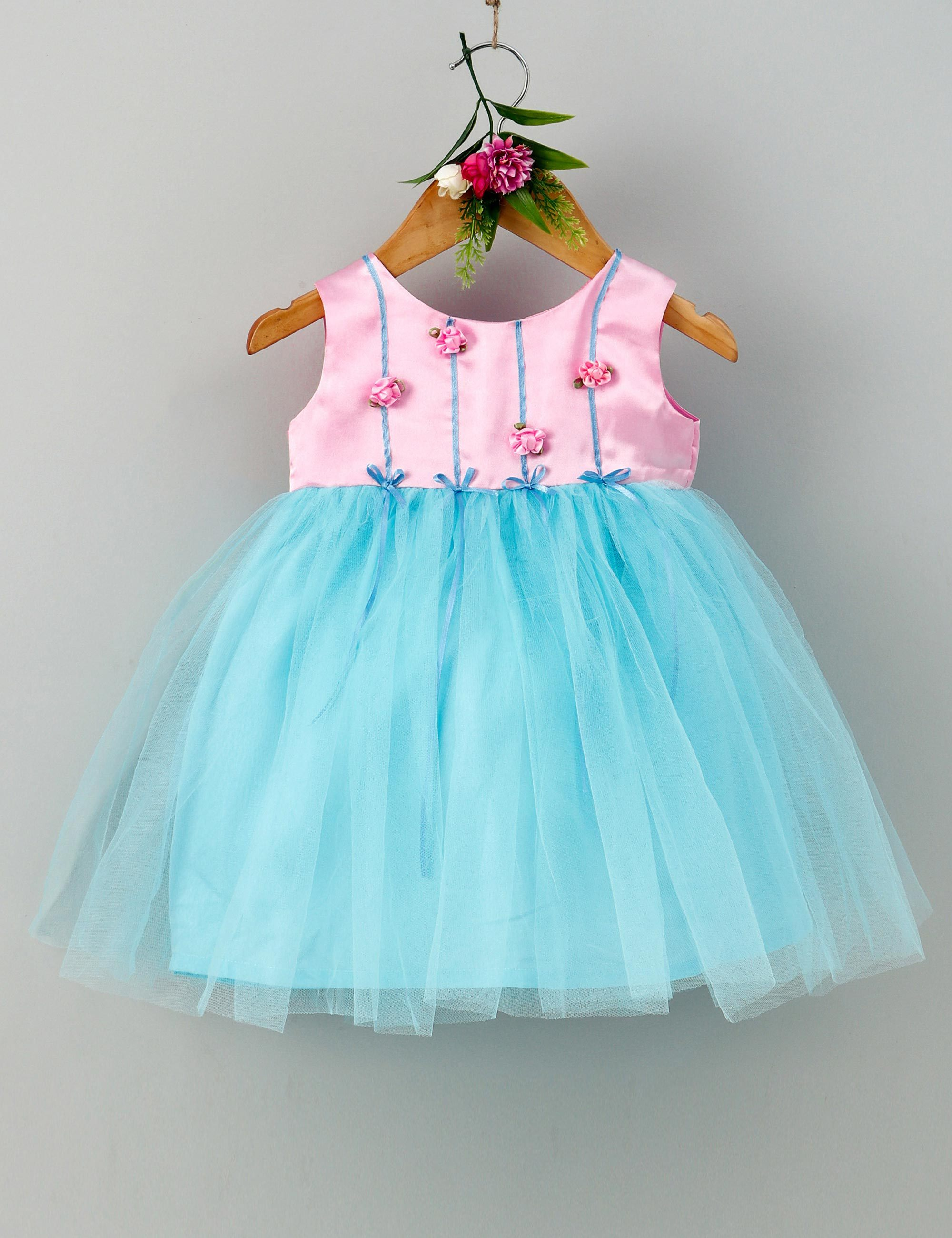 Rose garden sleeveless baby party frock-Pink and Blue
