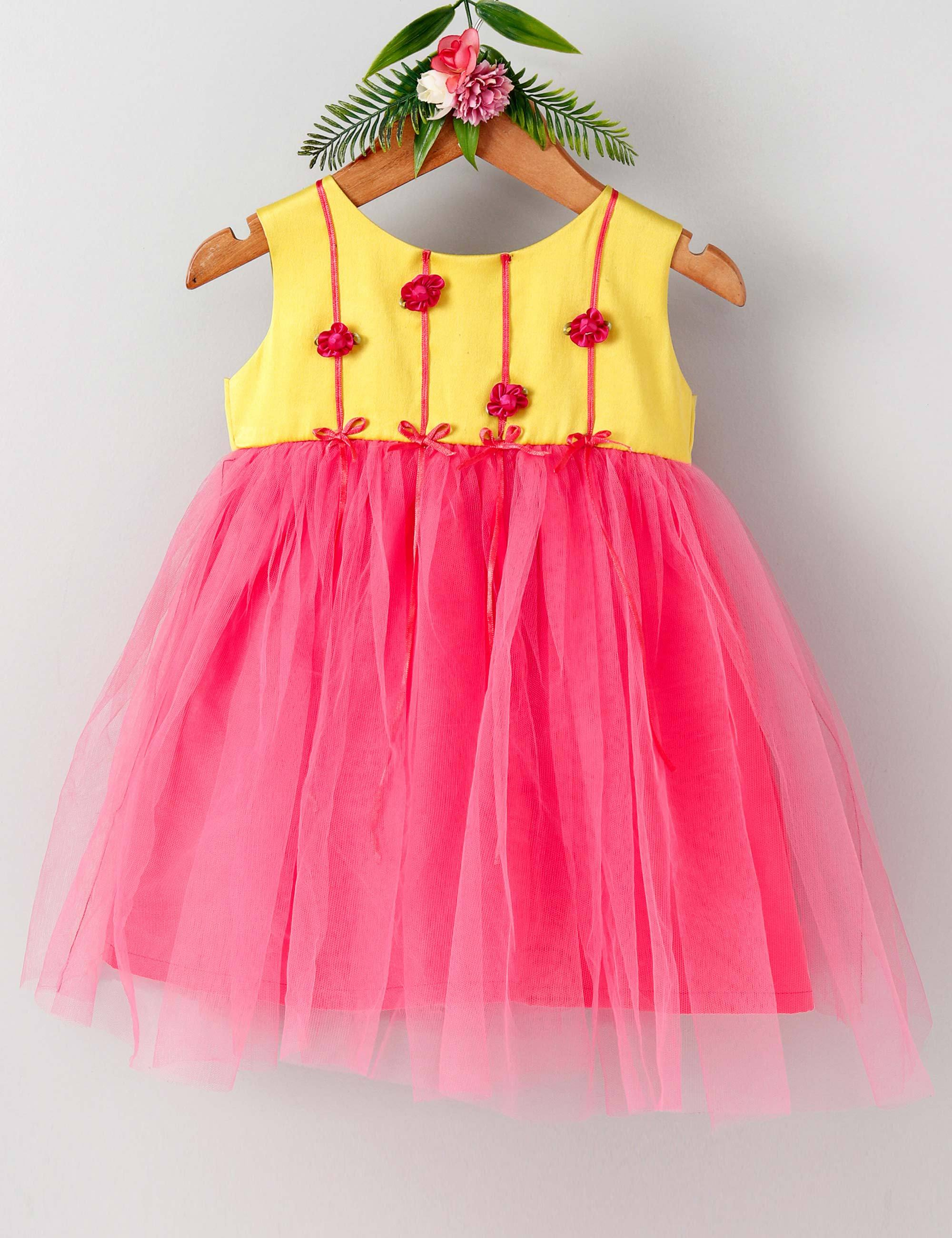 Rose garden sleeveless baby party frock-Yellow and Dark Pink