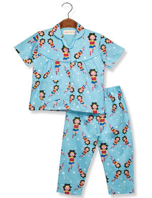 Printed Wonder girl Night Suit for Girls