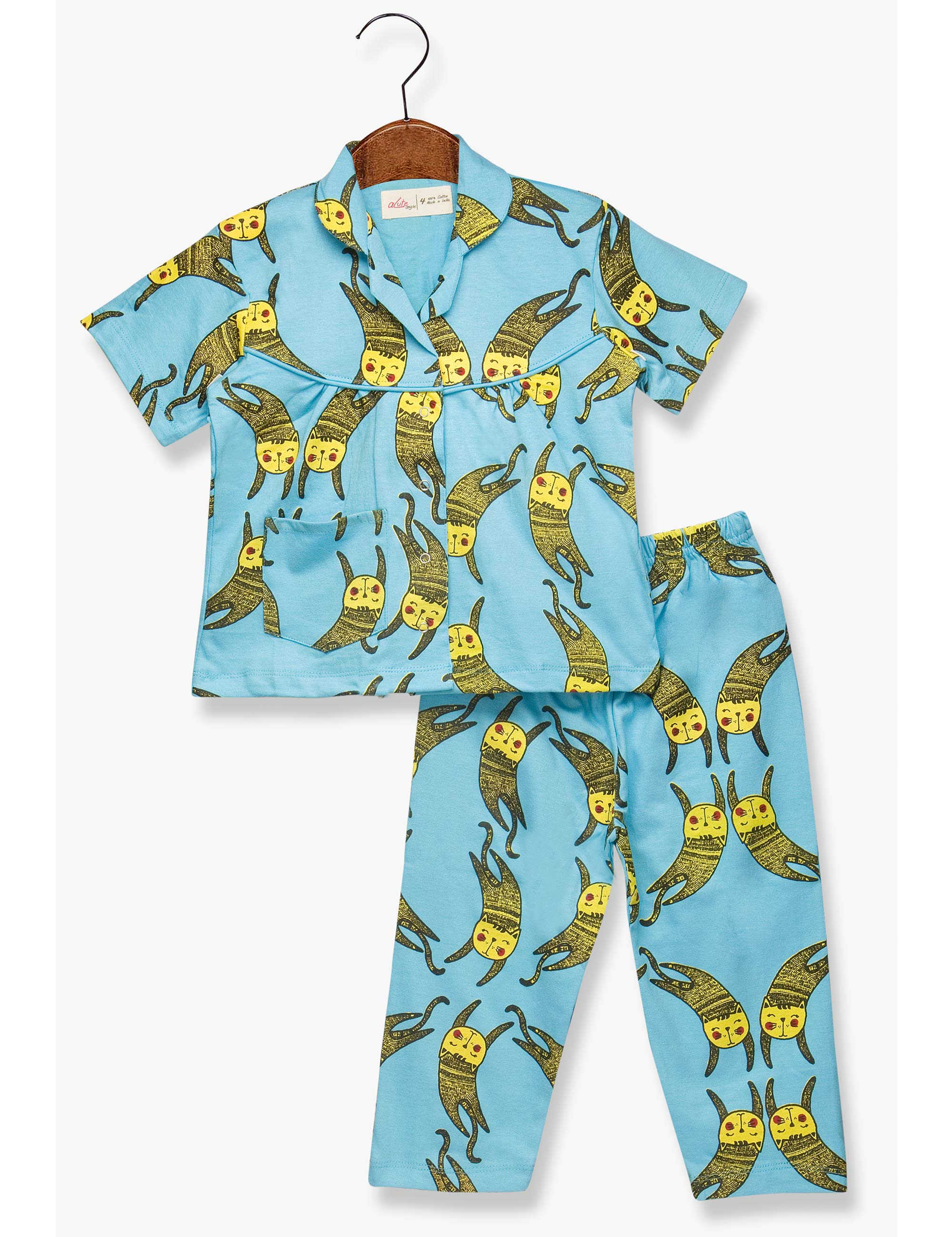 Printed Cats Night Suit for Girls