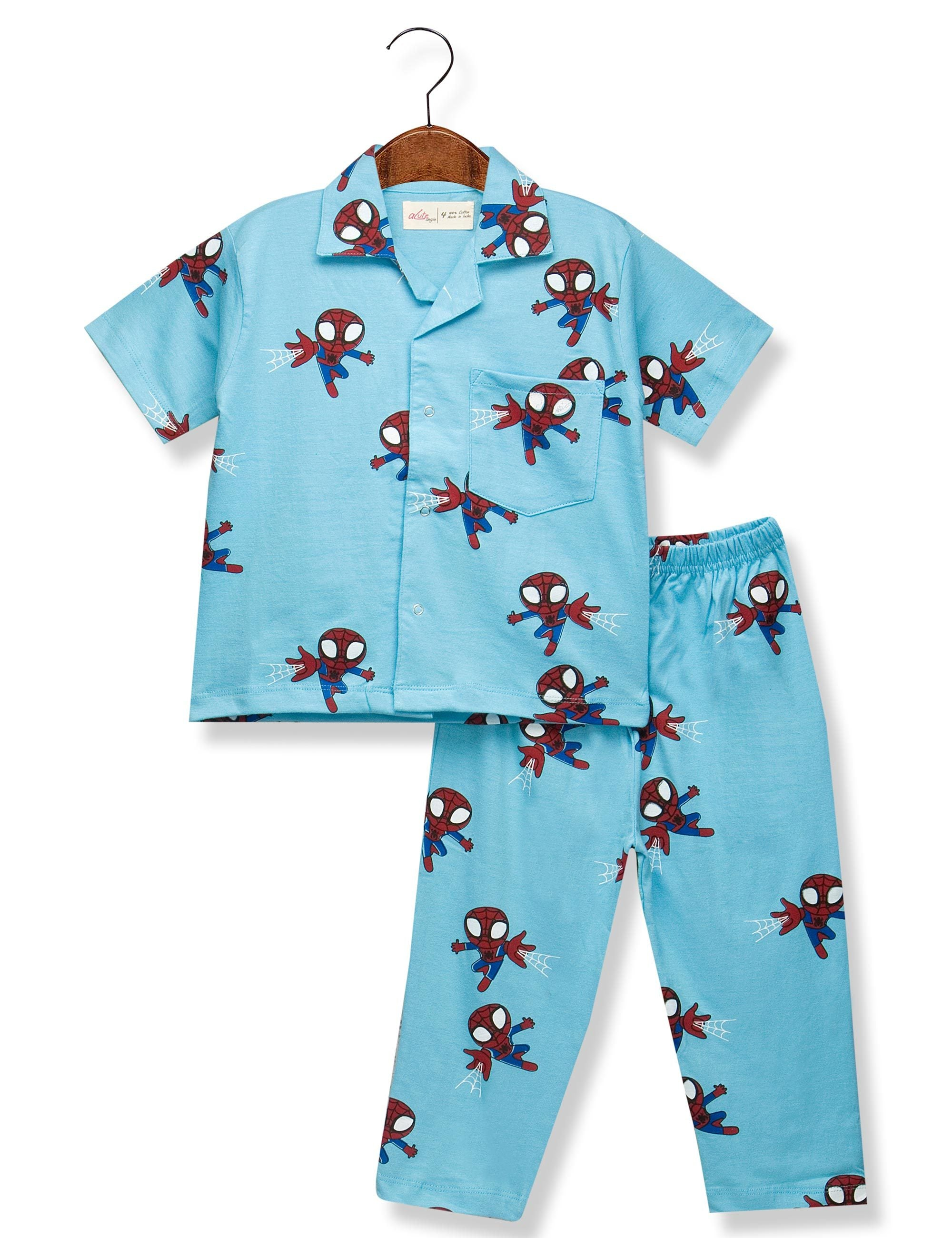 Printed Spider Night Suit for Boys