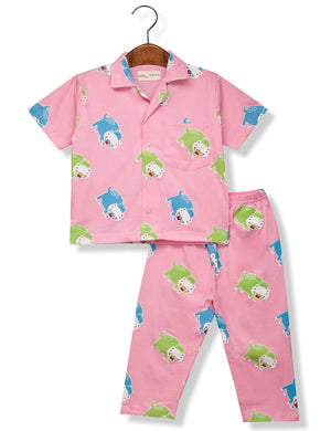 Printed Hippo Night Suit for Boys
