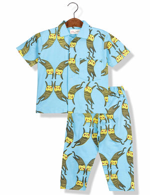 Printed Cats Night Suit for Boys