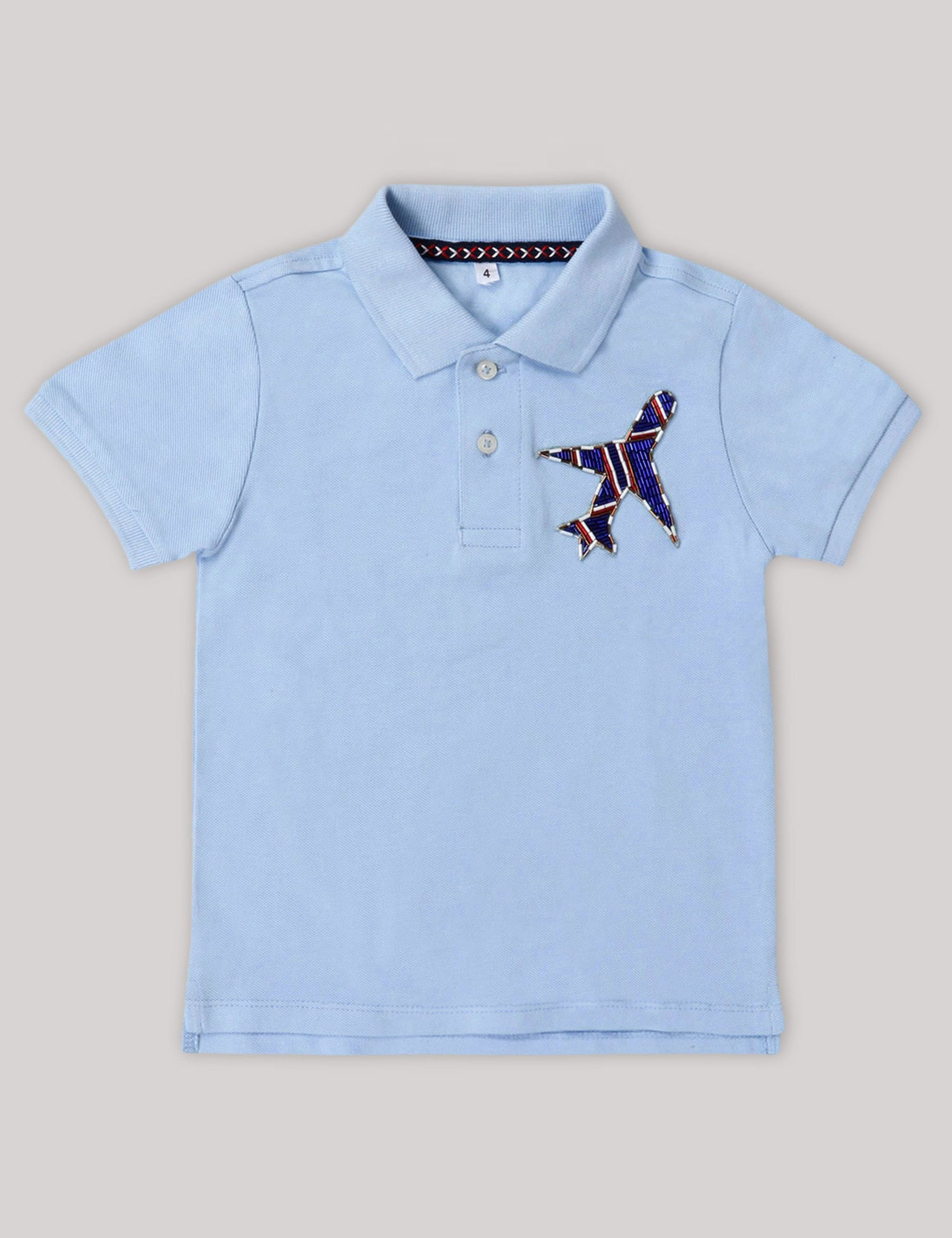Boys T-Shirt with  Aeroplane Patch on Corner .