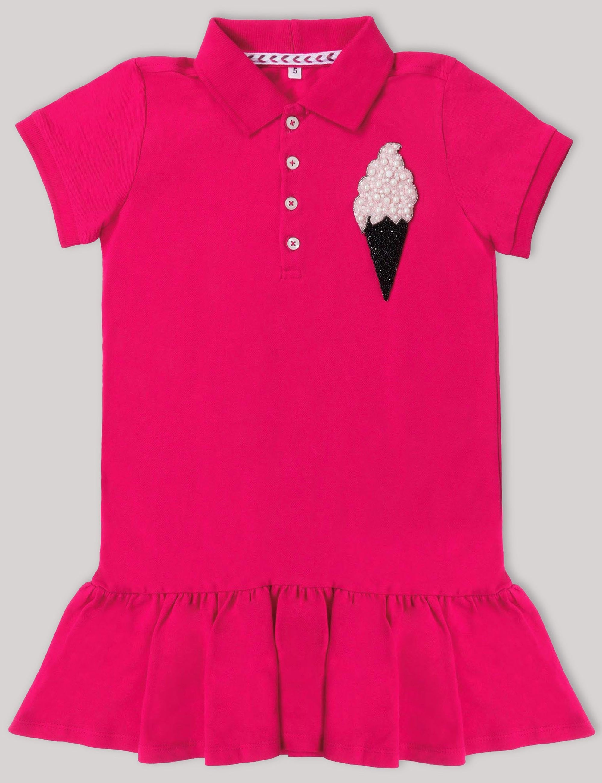 f745f0ae72 Girls Polo T-Shirt Dress with very Quirky Ice Cream Patch On a Corner .