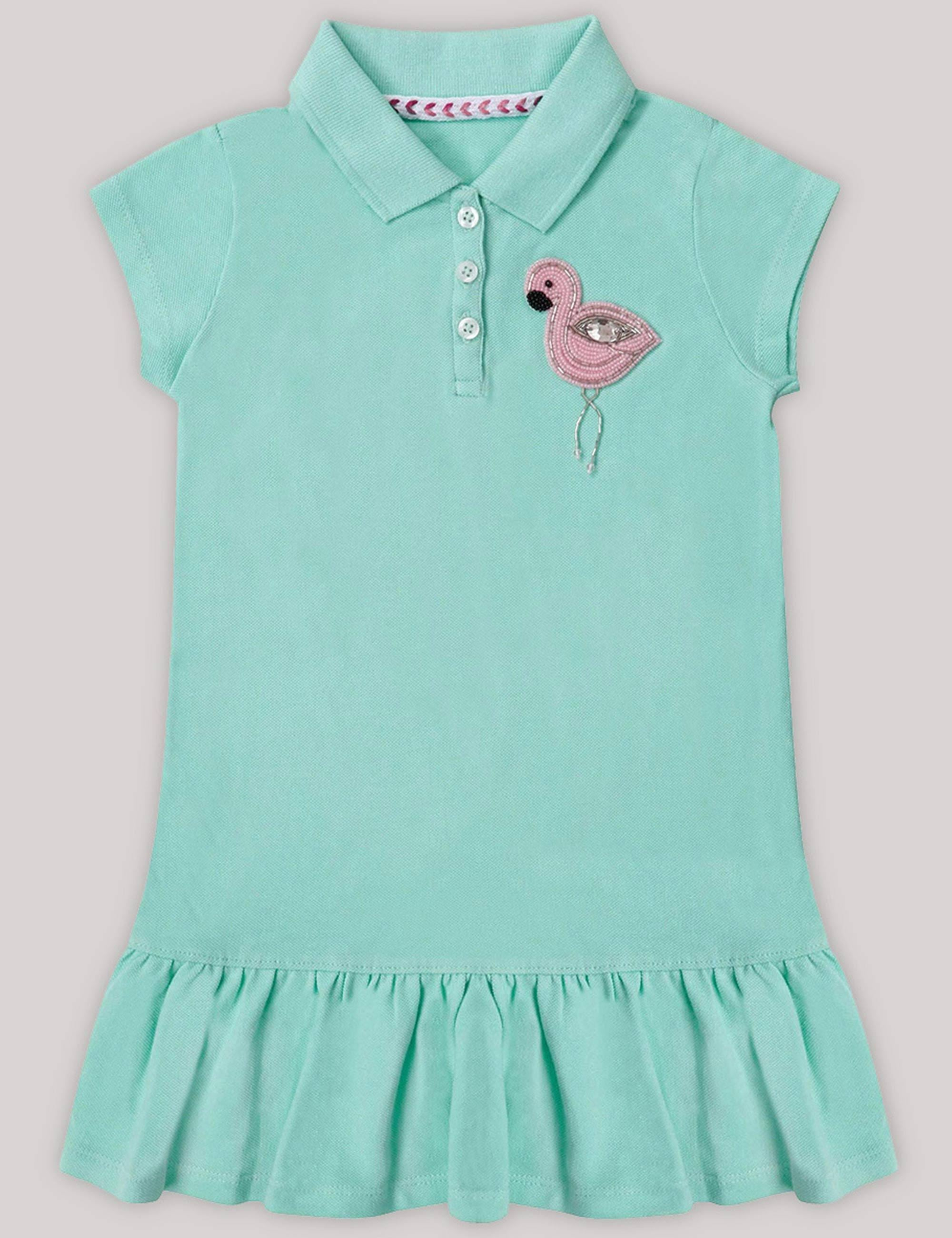 2a0f67380f Girls Polo T-Shirt Dress with very Quirky Flamingo Patch On a Corner .