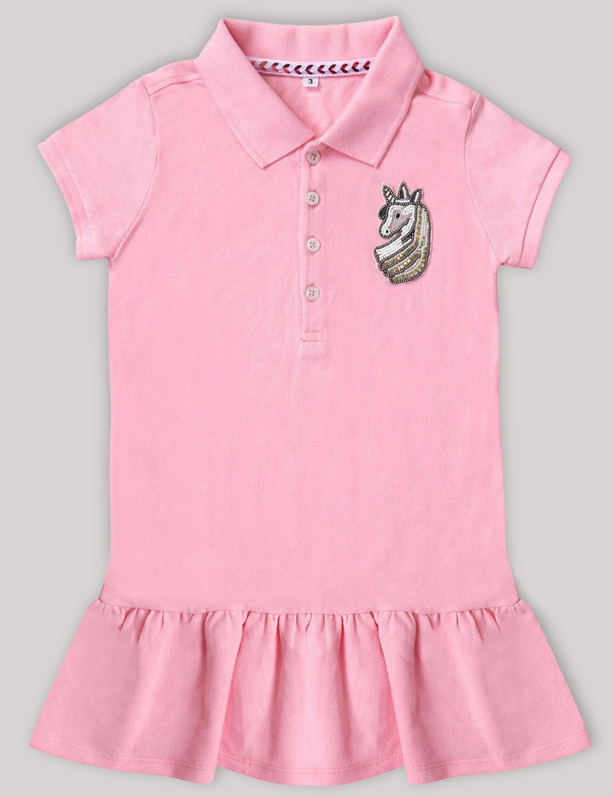 f98082d7e9 Girls Polo T-Shirt Dress with very Quirky Unicorn Patch On a Corner .