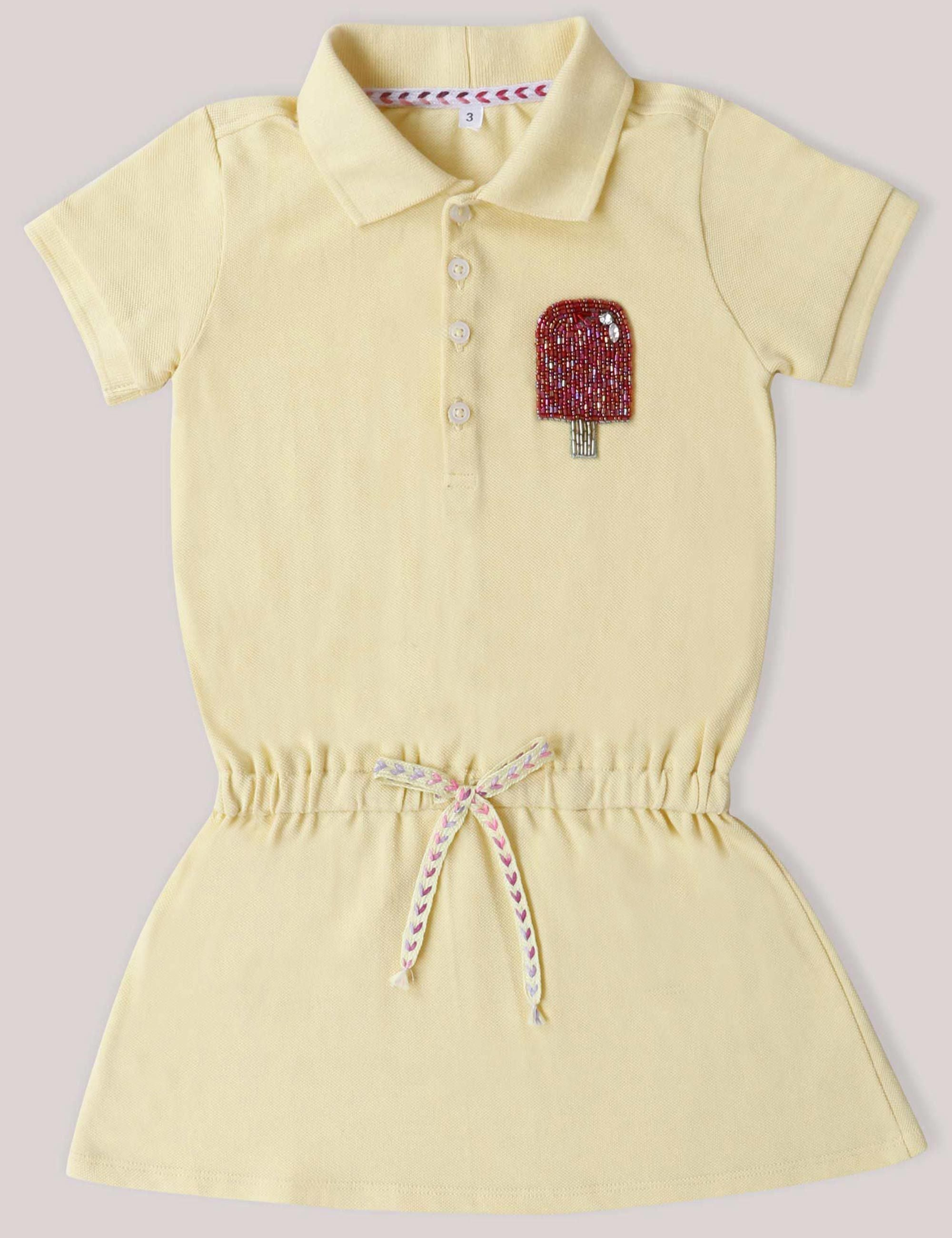 9e739be076 Girls Polo T-Shirt Dress with very Quirky Popsicle Patch On a Corner .