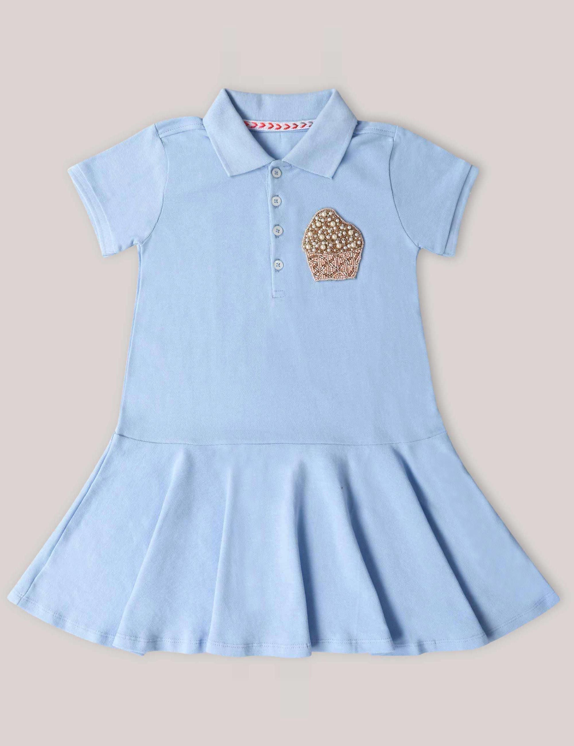 d0c81a028d Girls Polo T-Shirt Dress with very Quirky Cupcake Patch On a Corner .