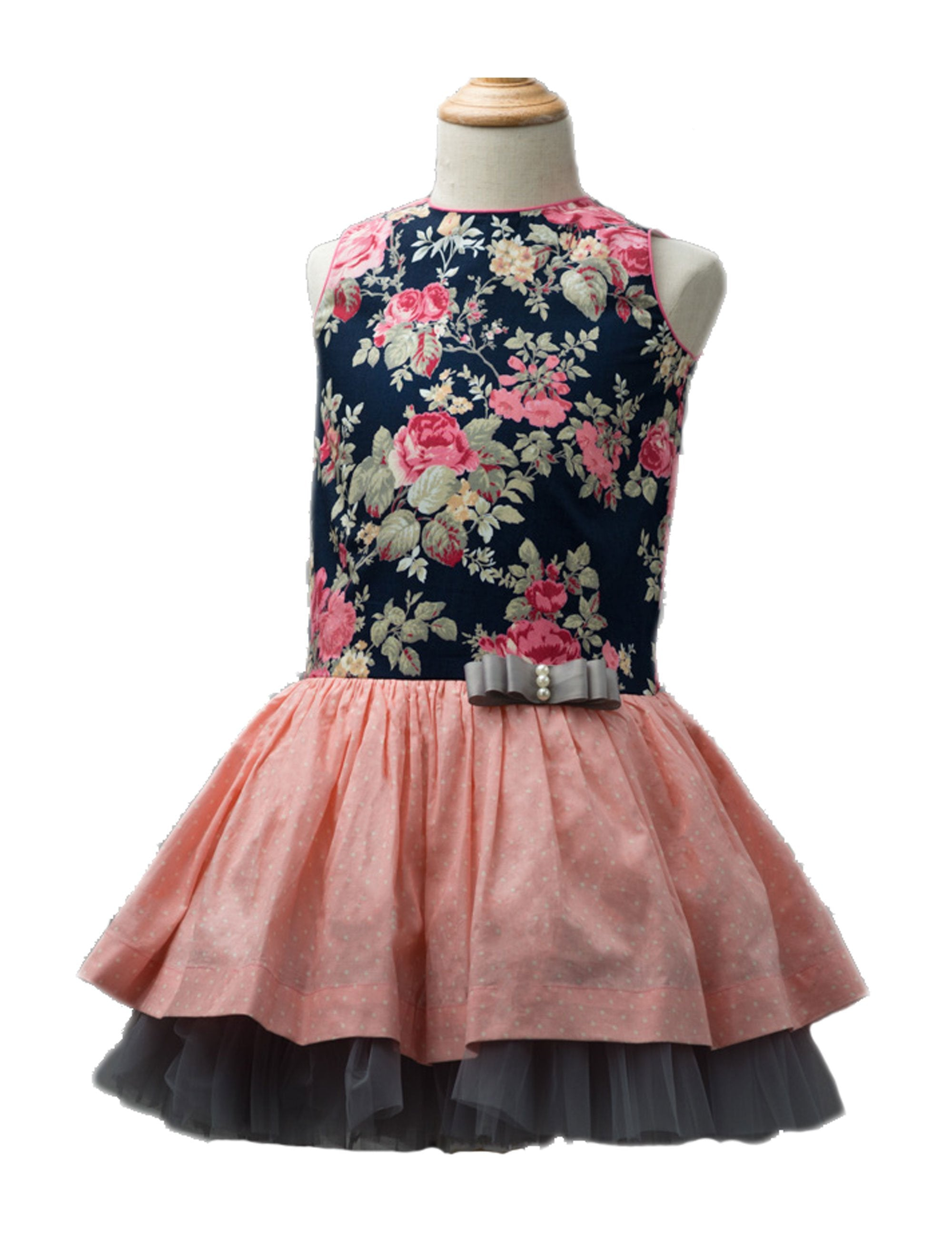 Festive Dress In Peach and Black Colour for Girls