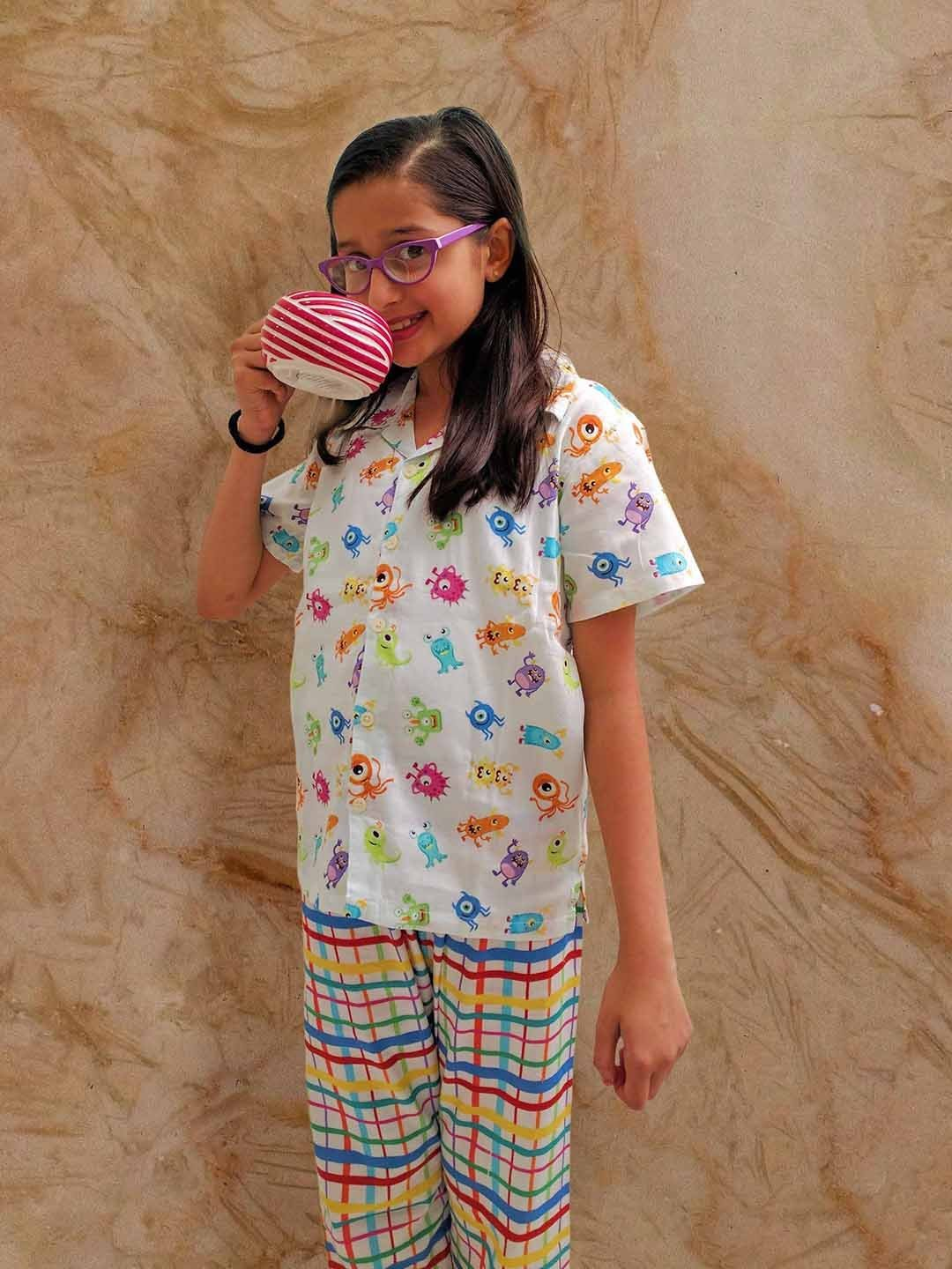 Cute Monsters Print Cotton Nightwear in Multi-Colour for Boys (Half Sleeves)