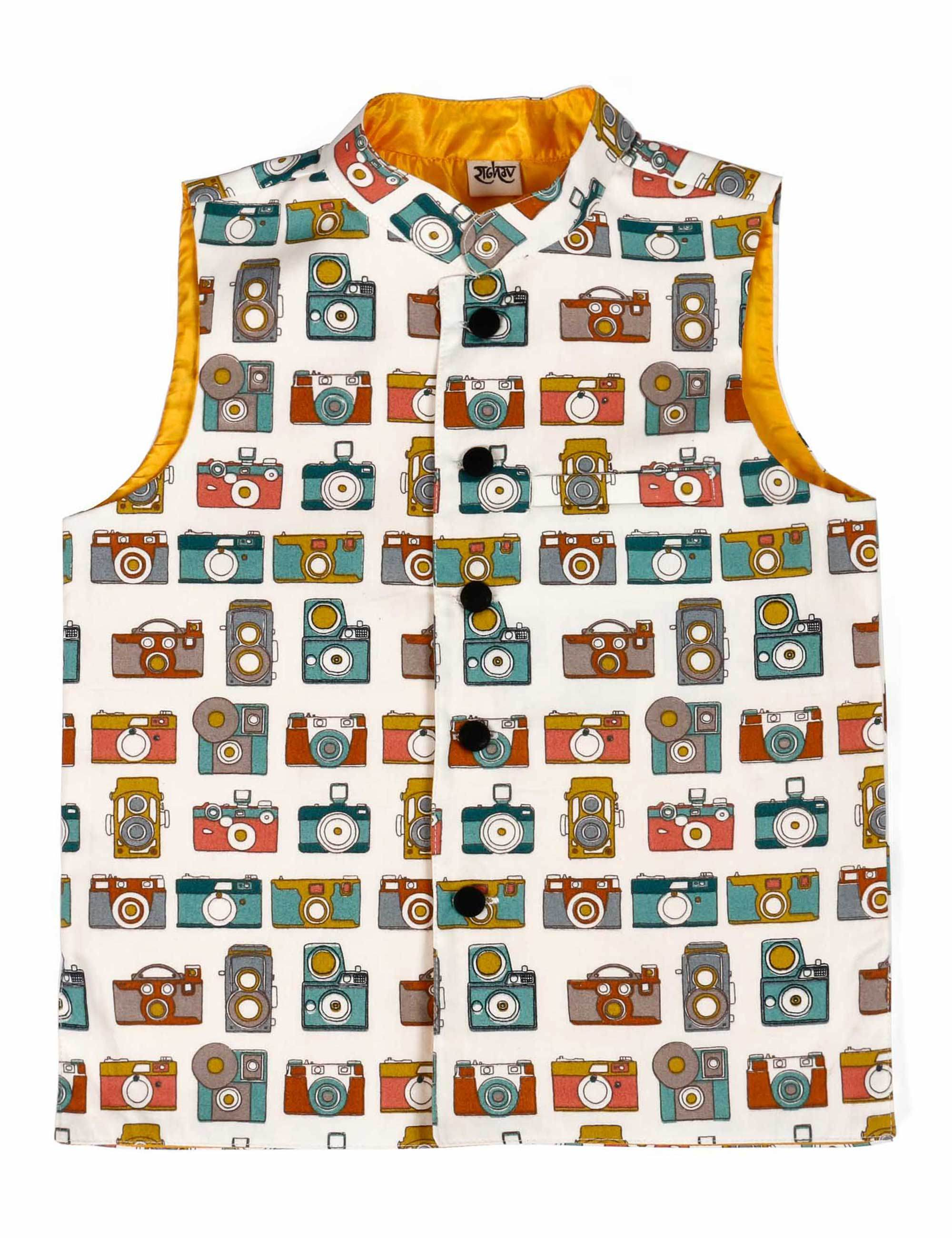 Camera Printed Cotton Jacket for Boys
