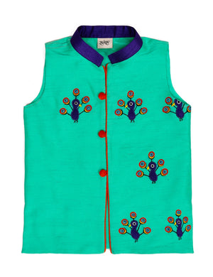 Peacock Embroidered Silk Jacket for Boys