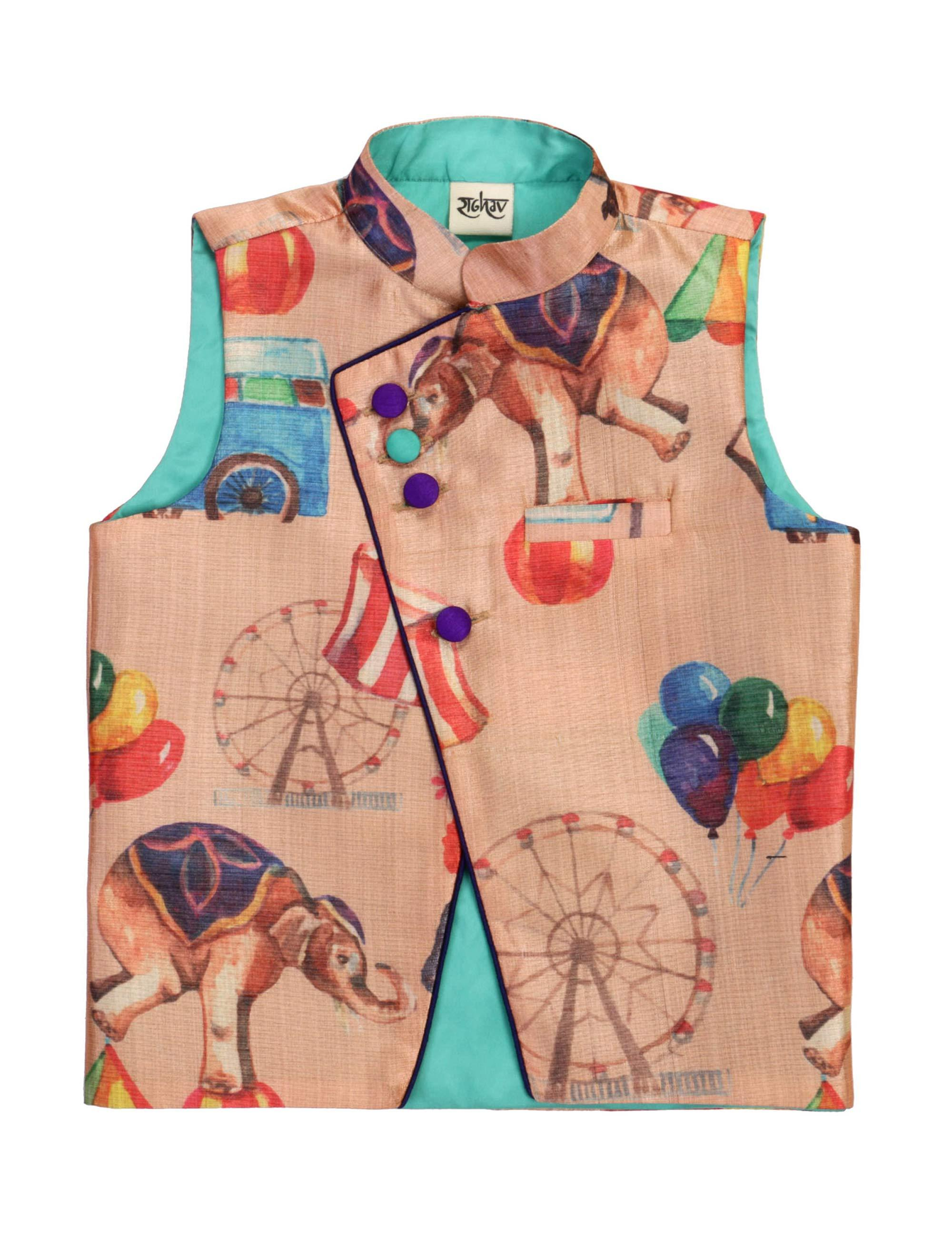 Circus Printed Jacket for Boys