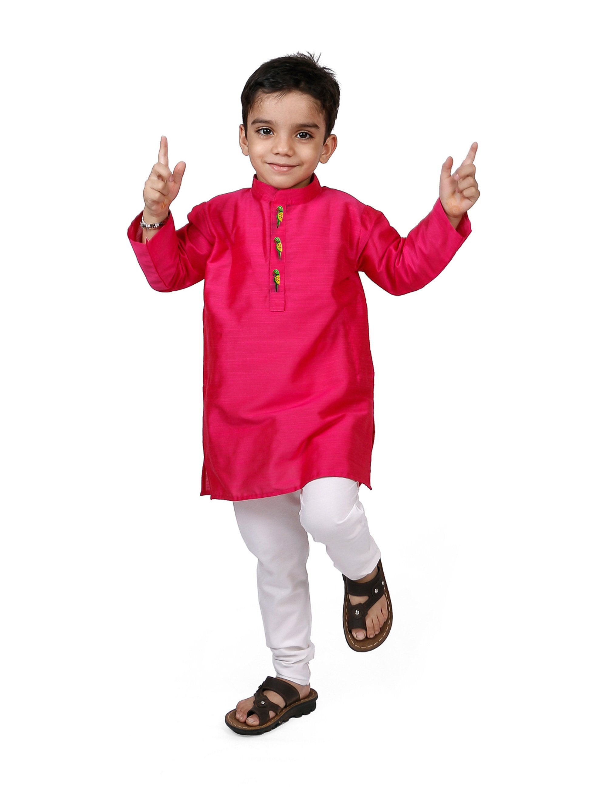 Hot Pink Kurta Pyjama Set for Boys