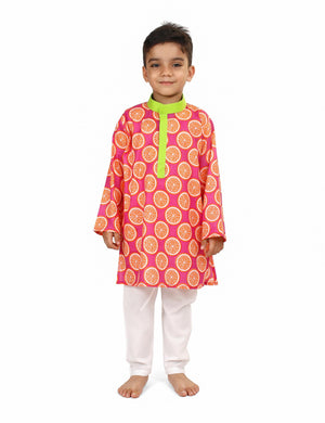 Orange Crush Printed Cotton Kurta Set for Boys