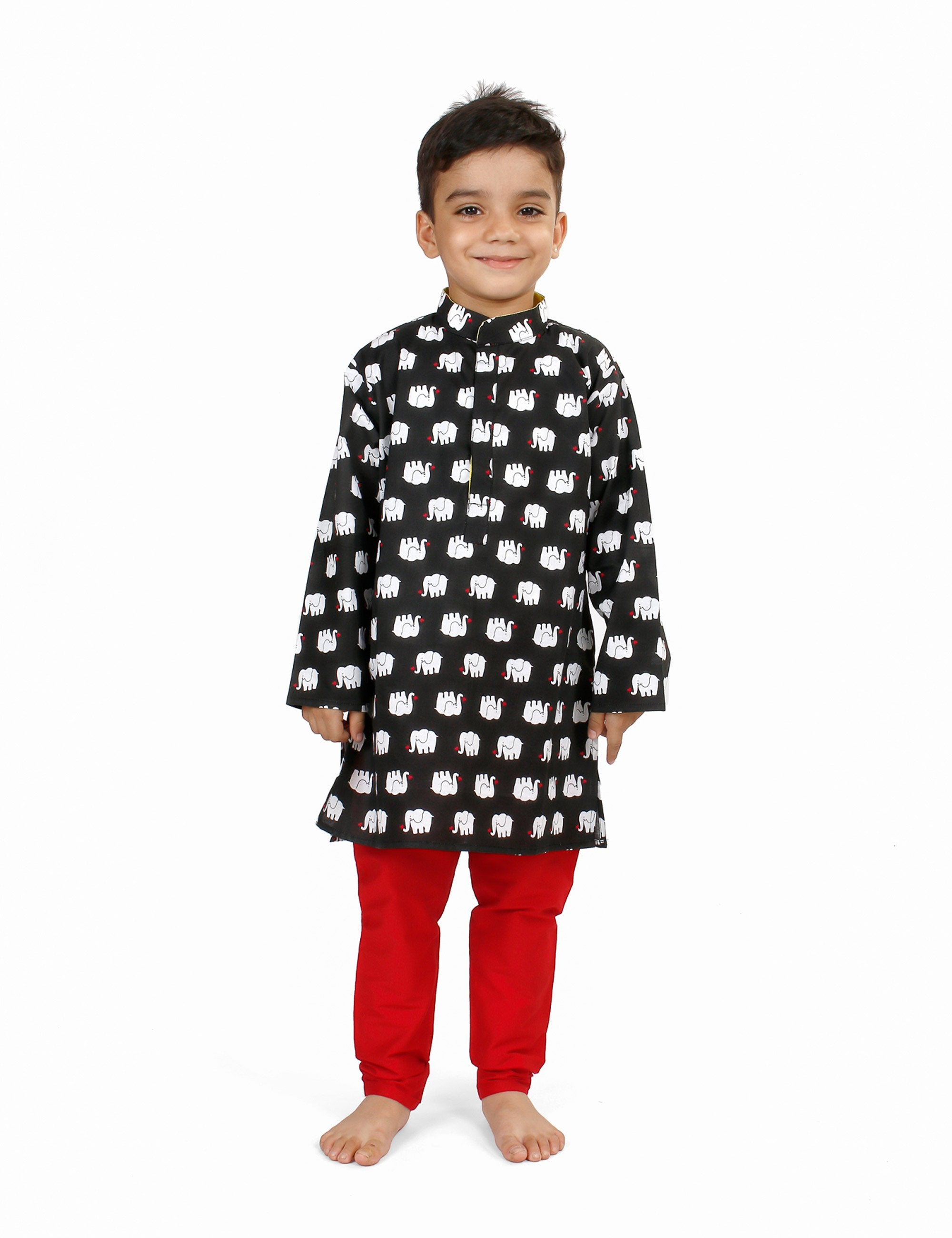Small Elephants Printed Cotton Kurta Set for Boys