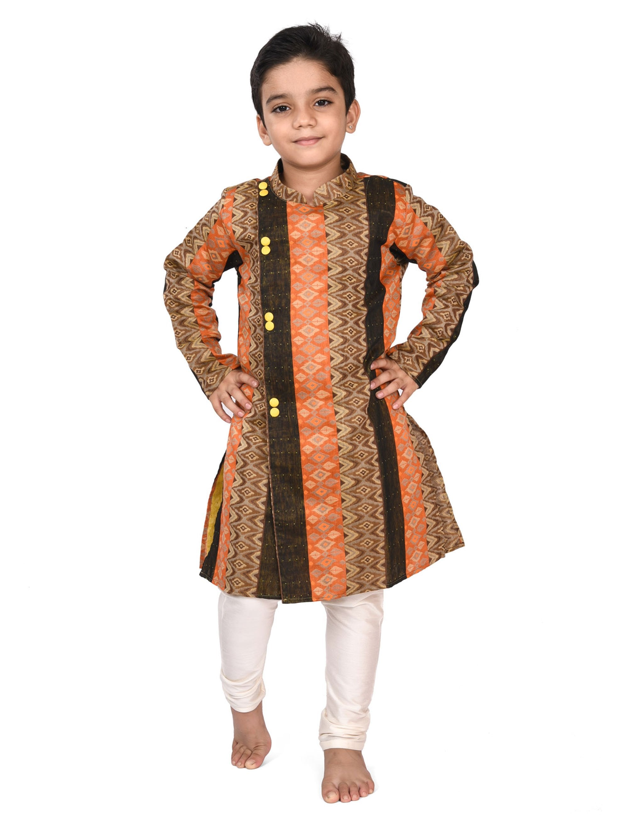Printed Cotton Kurta Pyjama Set for Boys