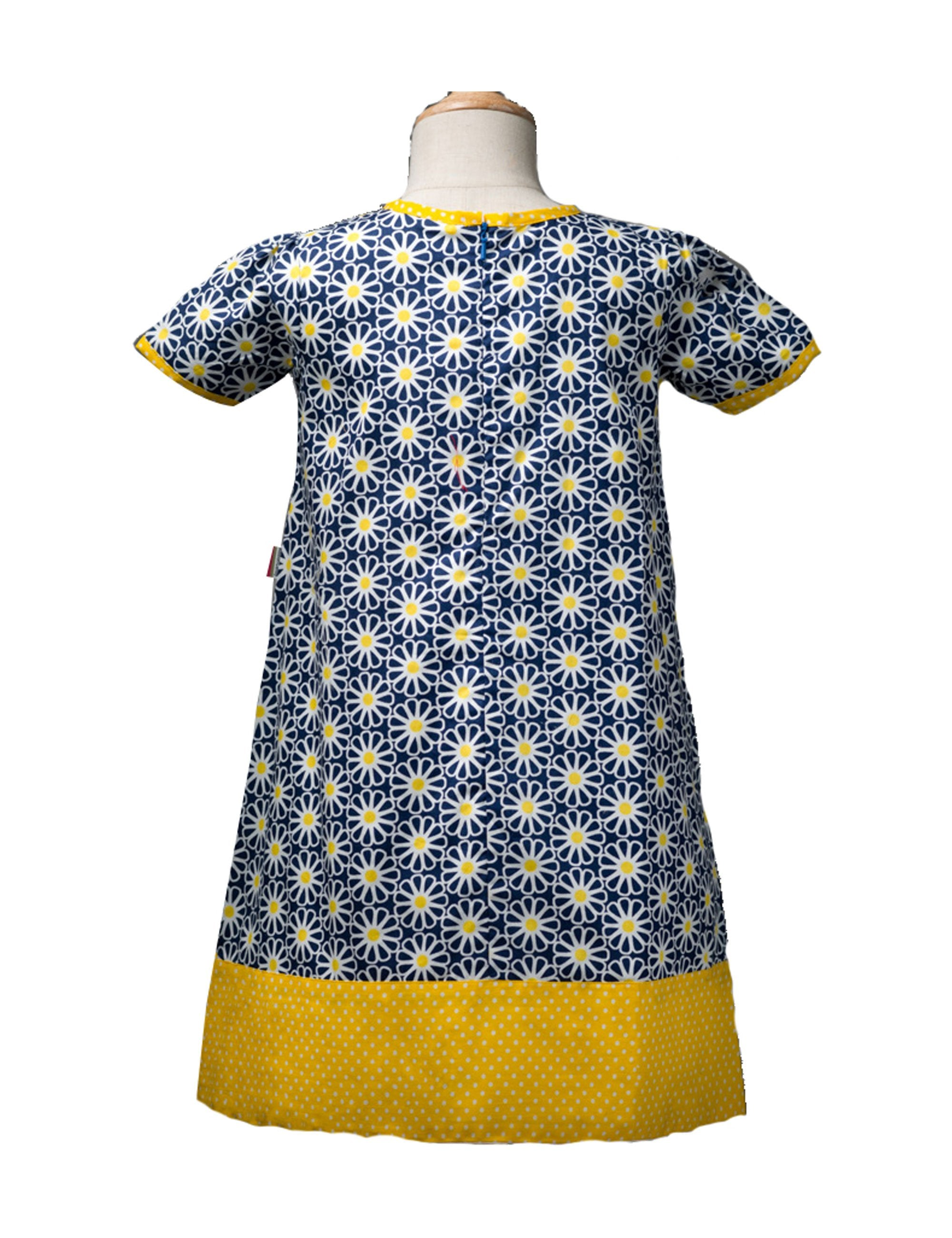 Shift Dress in A Blue Sunflower Print in Yellow Colour for Girls