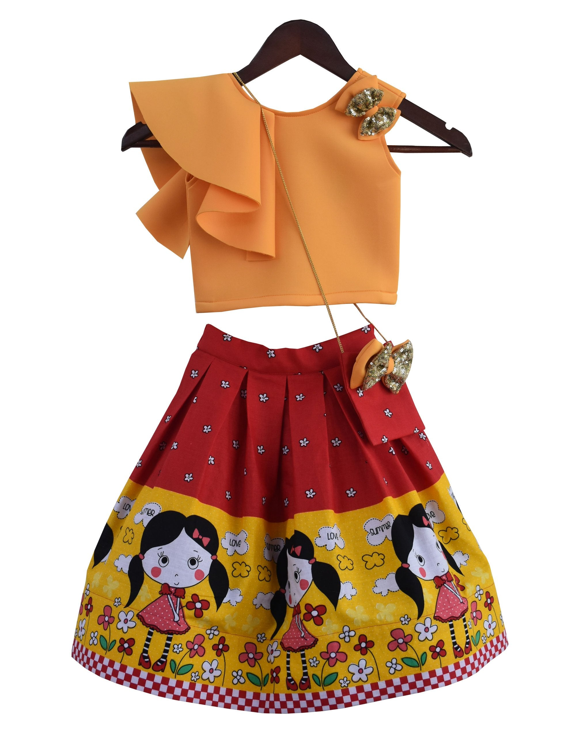 Crop Top with Printed Mid Calf Skirt in Orange Colour for Girls