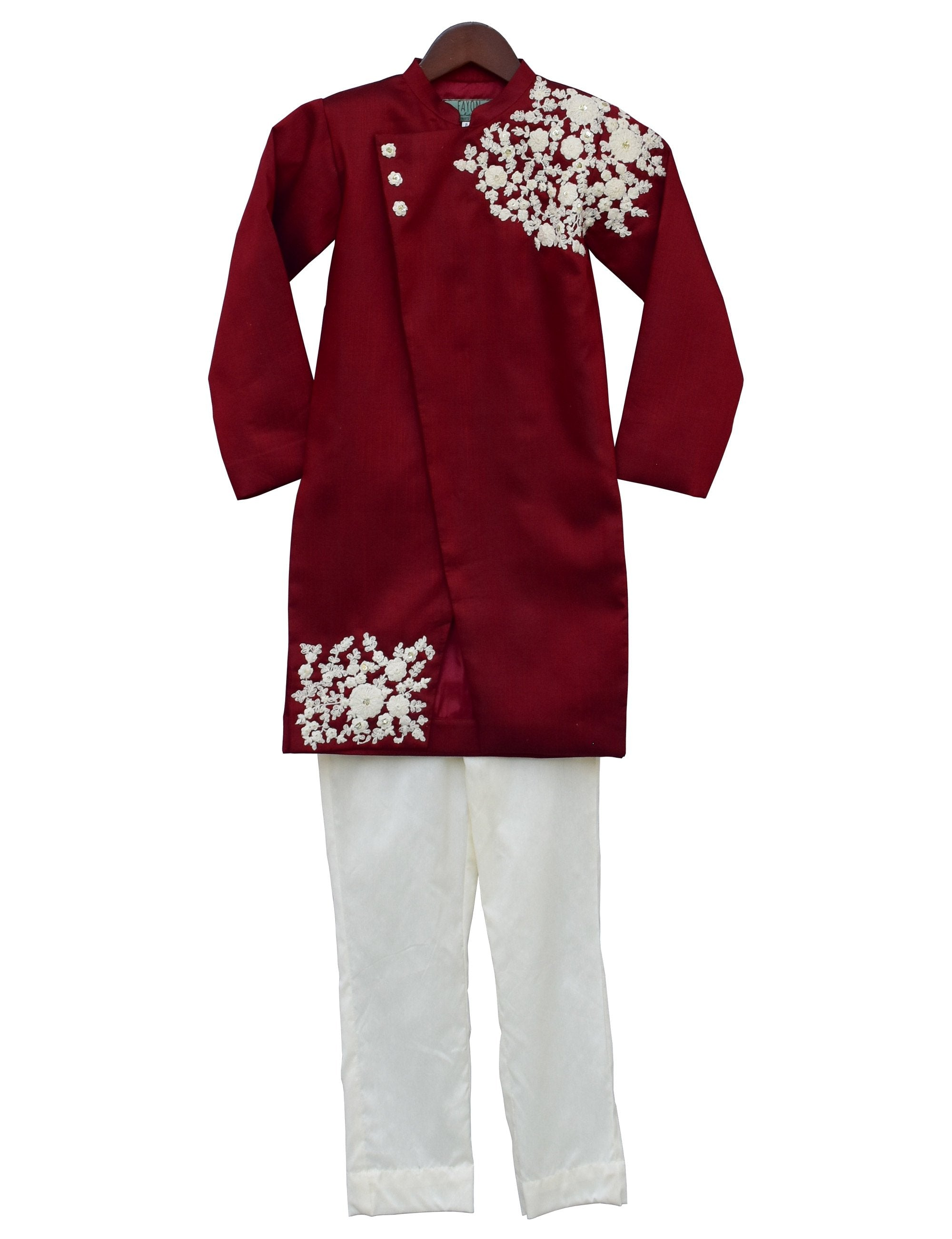 Maroon Embroidery Ajkan with Churidar for Boys