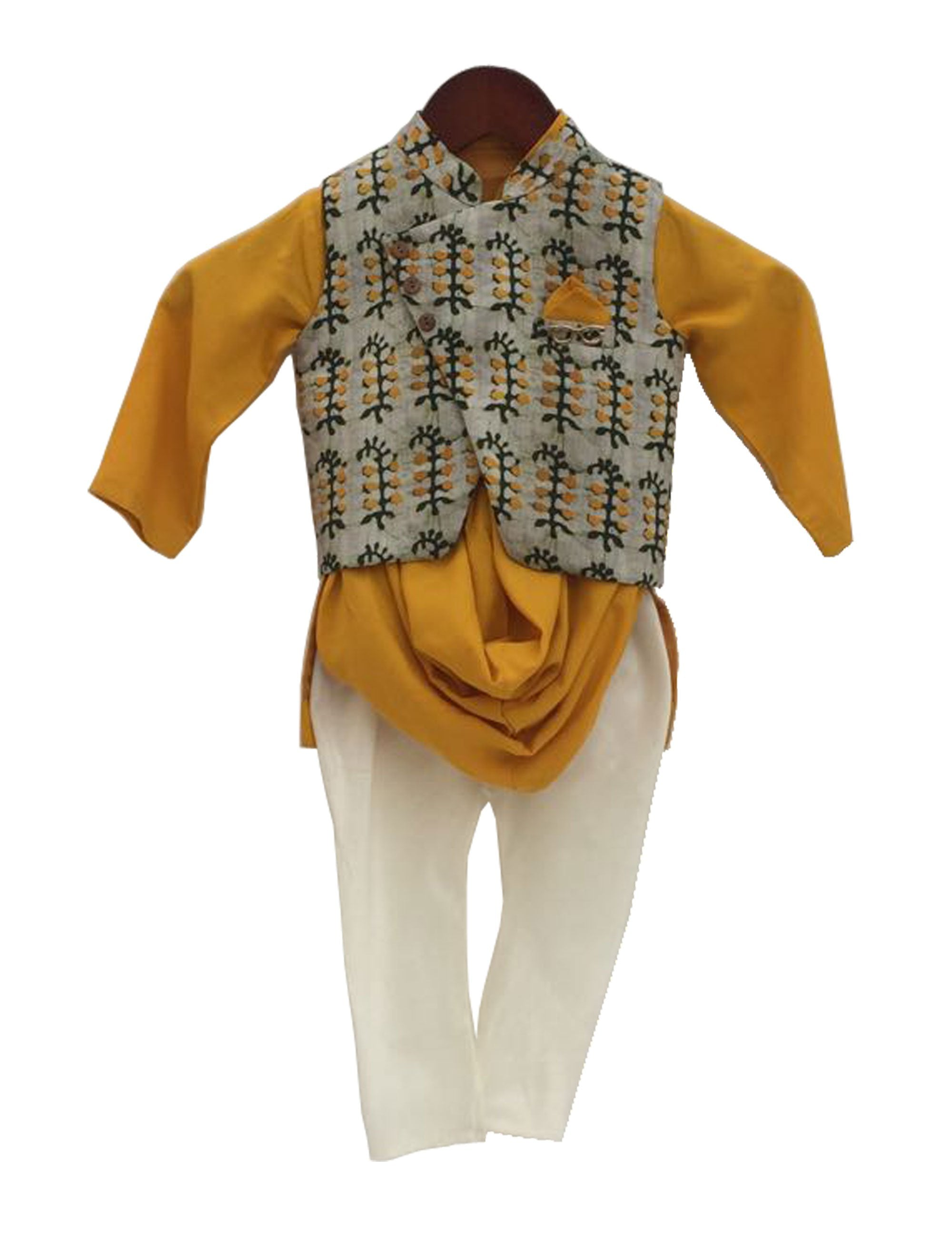 Kurta with Churidaar with Nehru Jacket in Yellow Colour for Boys
