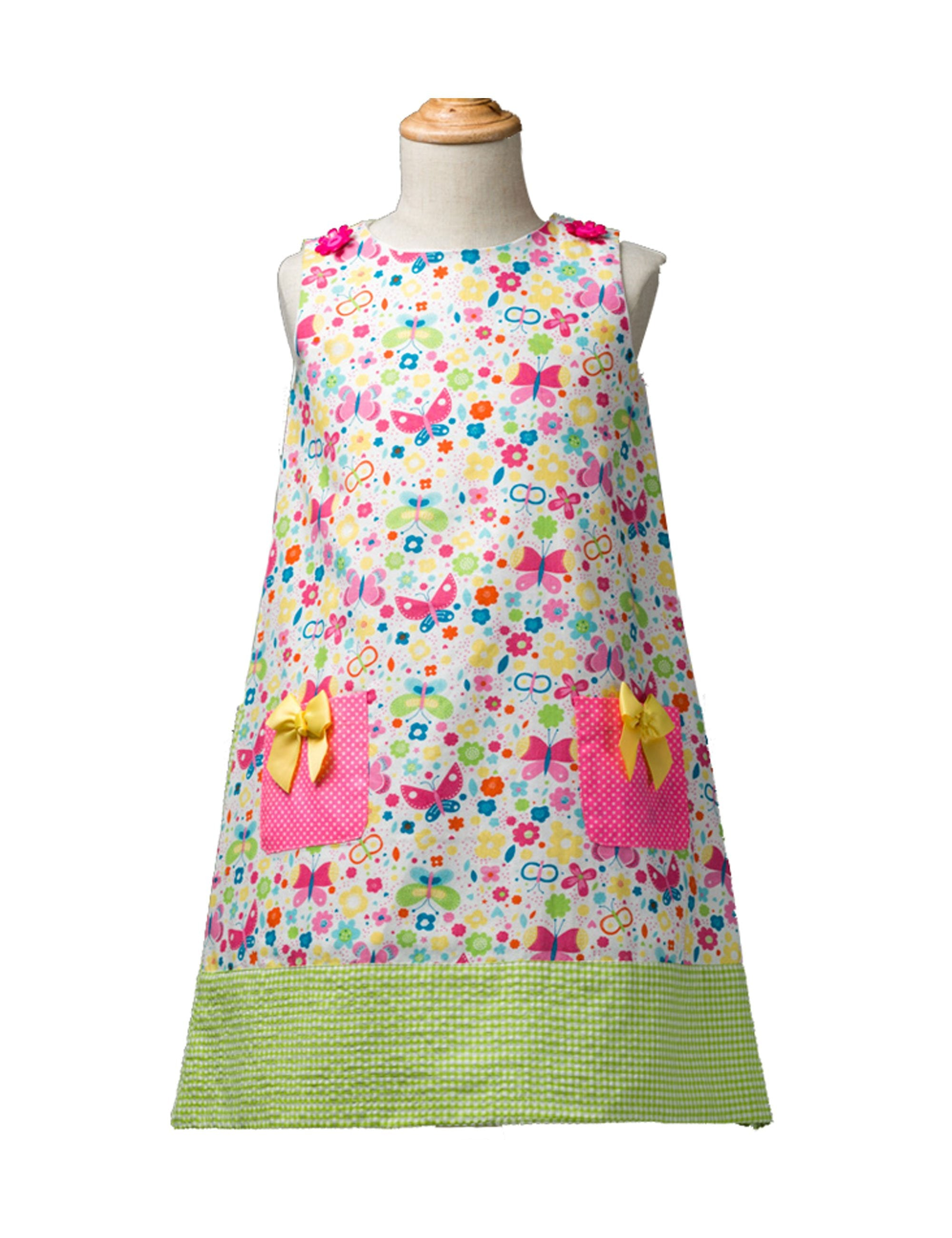 Butterfly Print Dress in Pink Colour for Girls